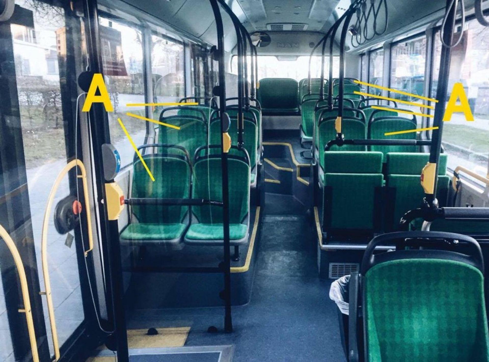 Empty bus seats.