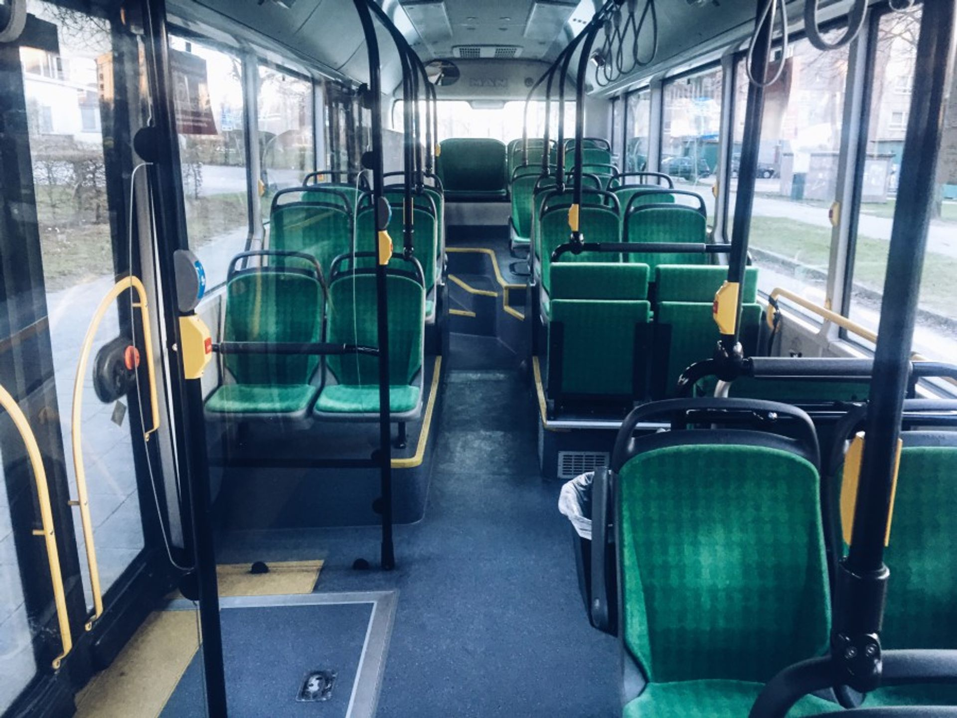 Empty seats on a bus.