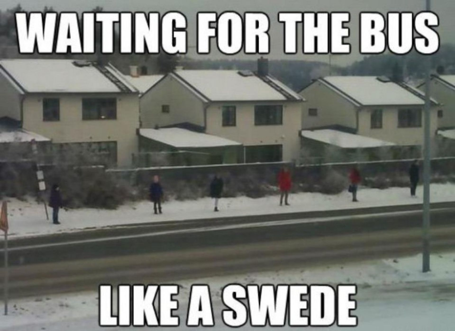 People standing far apart, waiting for the bus. Caption reads, 'Waiting for the bus like a Swede'.