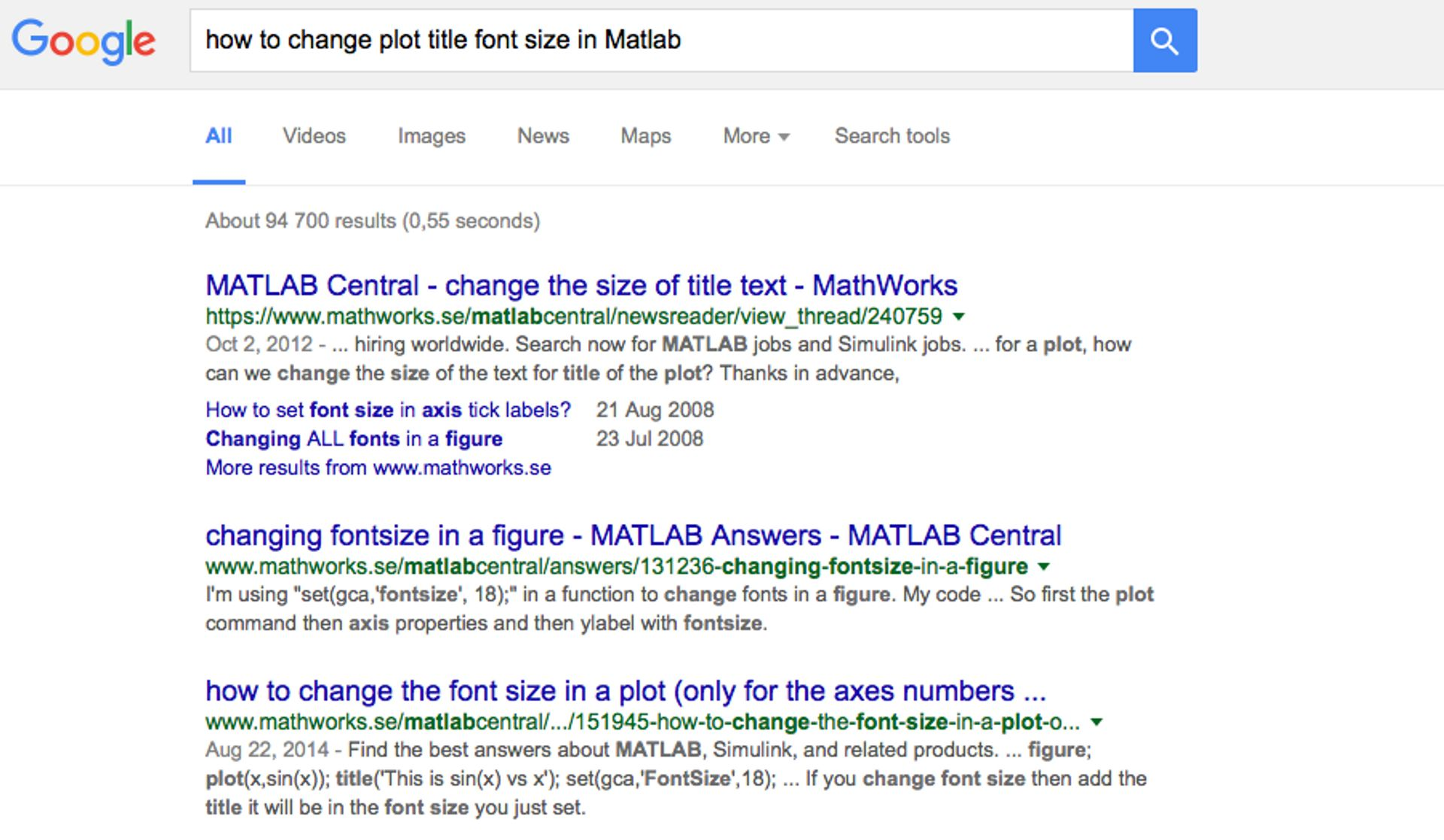 Screenshot of googling 'How to change plot title font size in Matlab'.