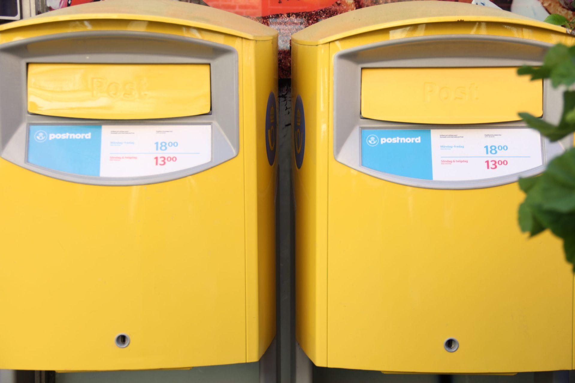 Yellow post boxes.