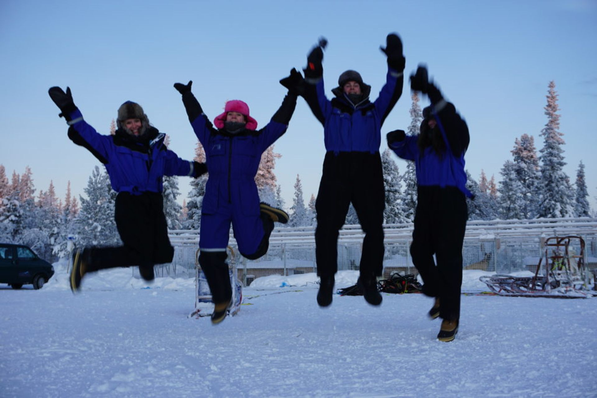 Us being really excited about the dog sledding, Source: Inez