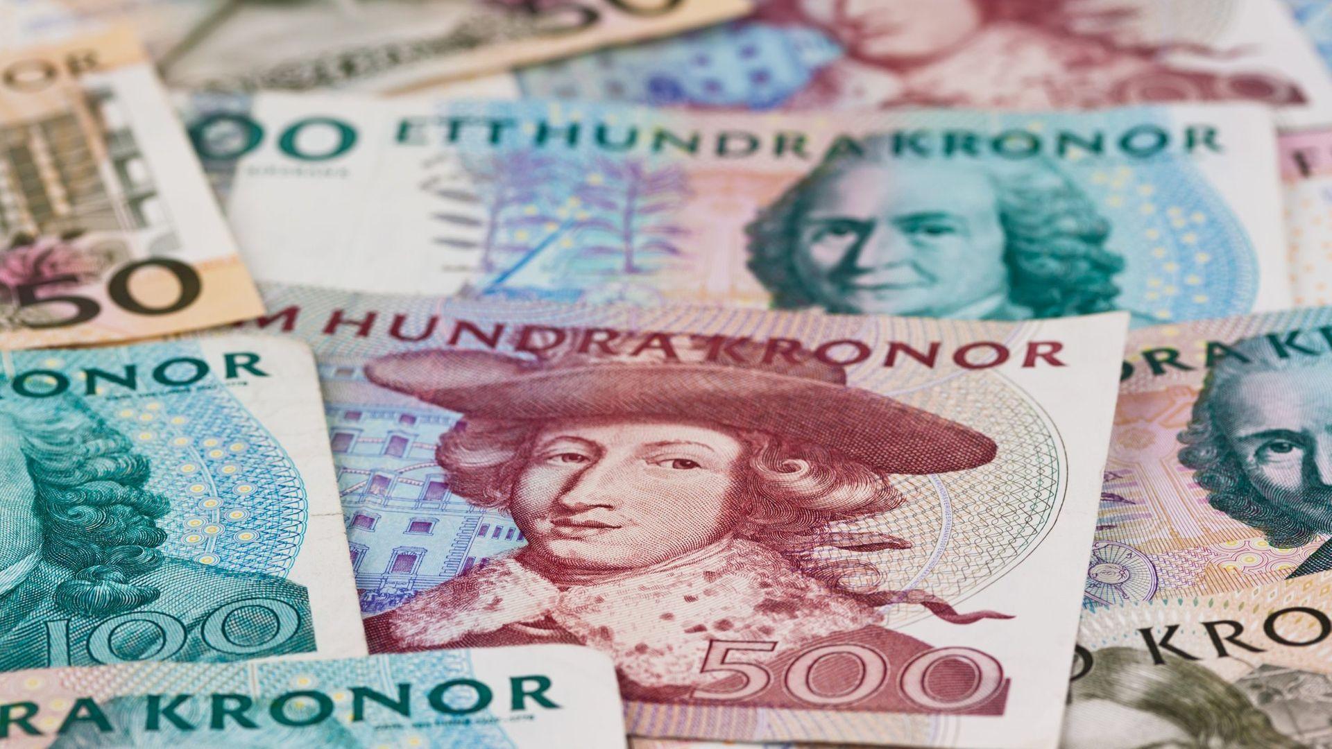 Swedish kronor bank notes.