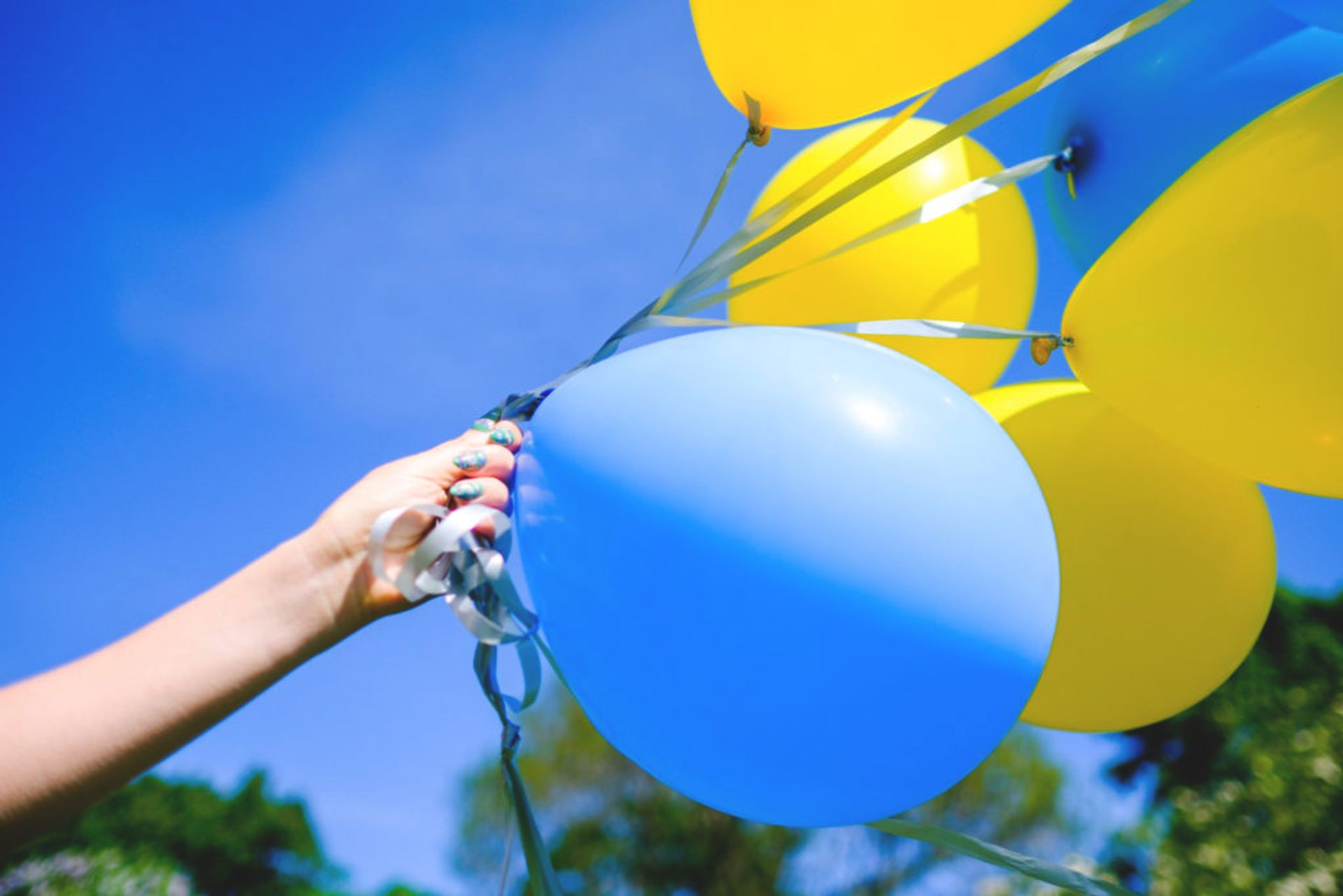 Blue and yellow balloons.