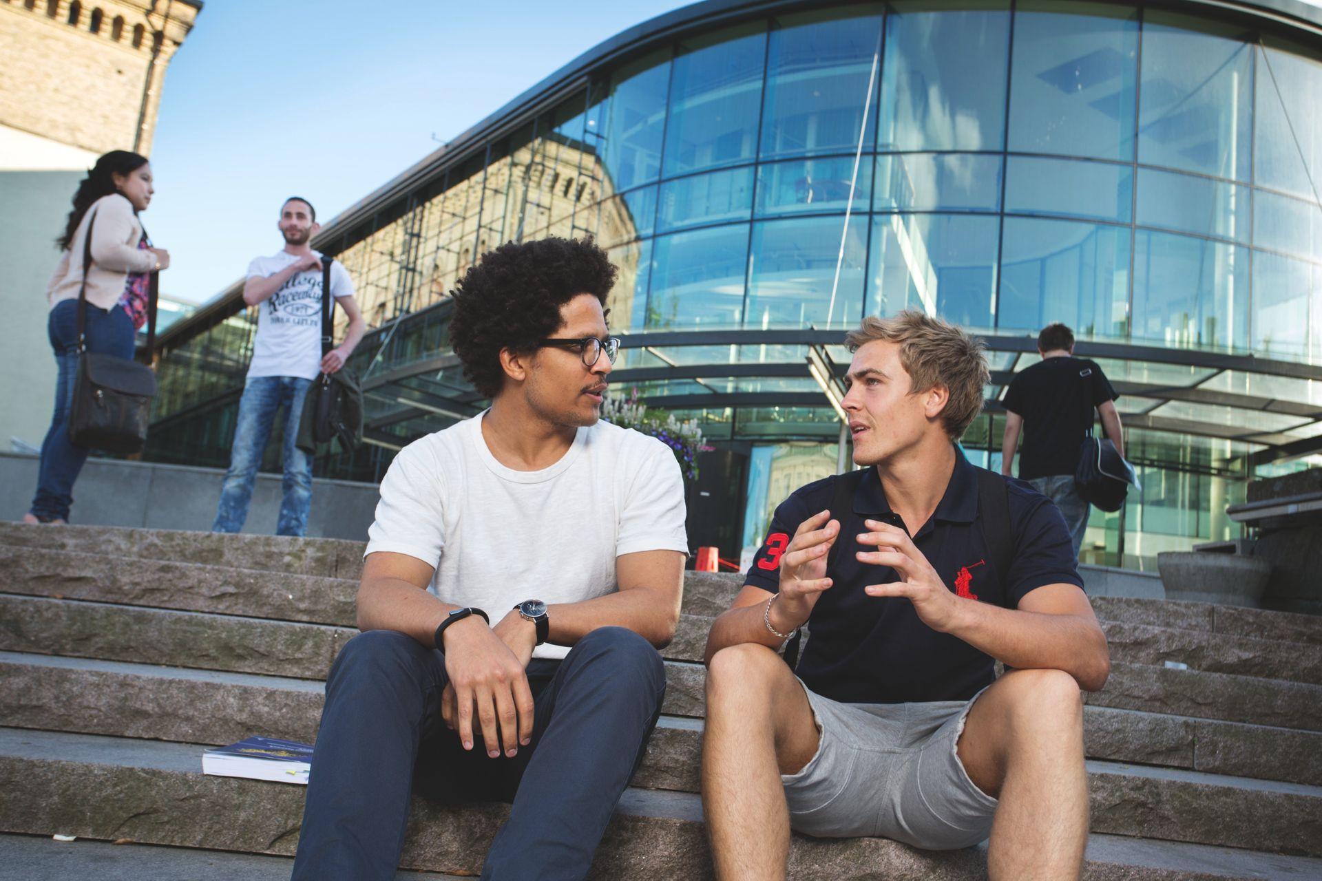 Students talking in sweden