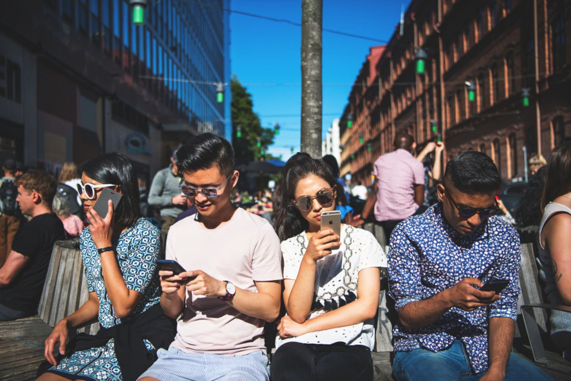 Students using cellphones