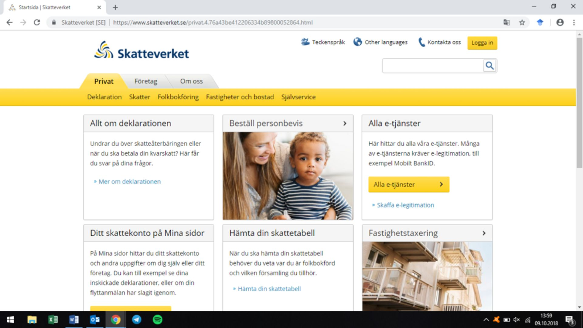 Screenshot of the Swedish Tax Agency website's landing page.