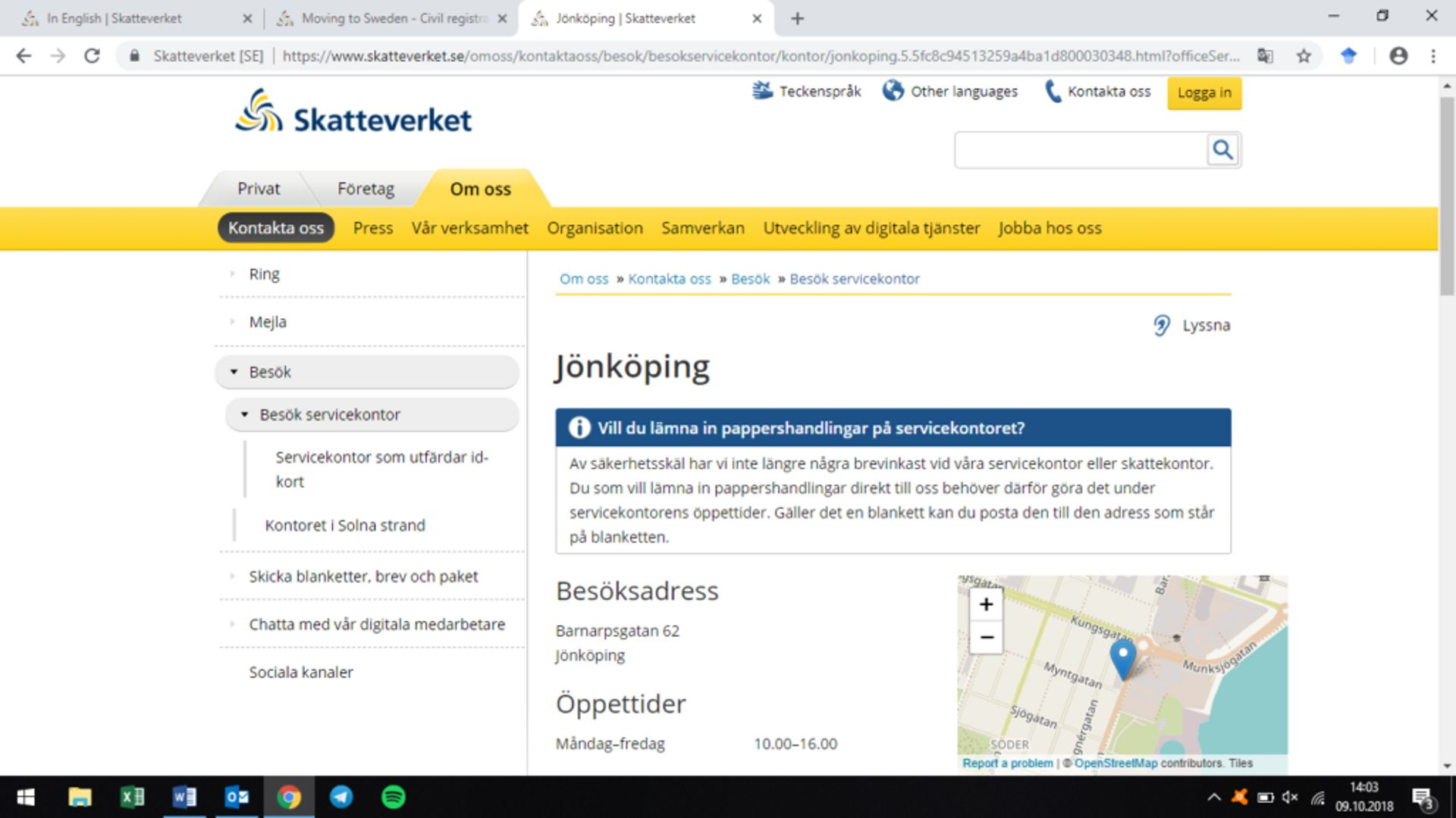 Screenshot showing the location of the Tax Agency's office in Jönköping.