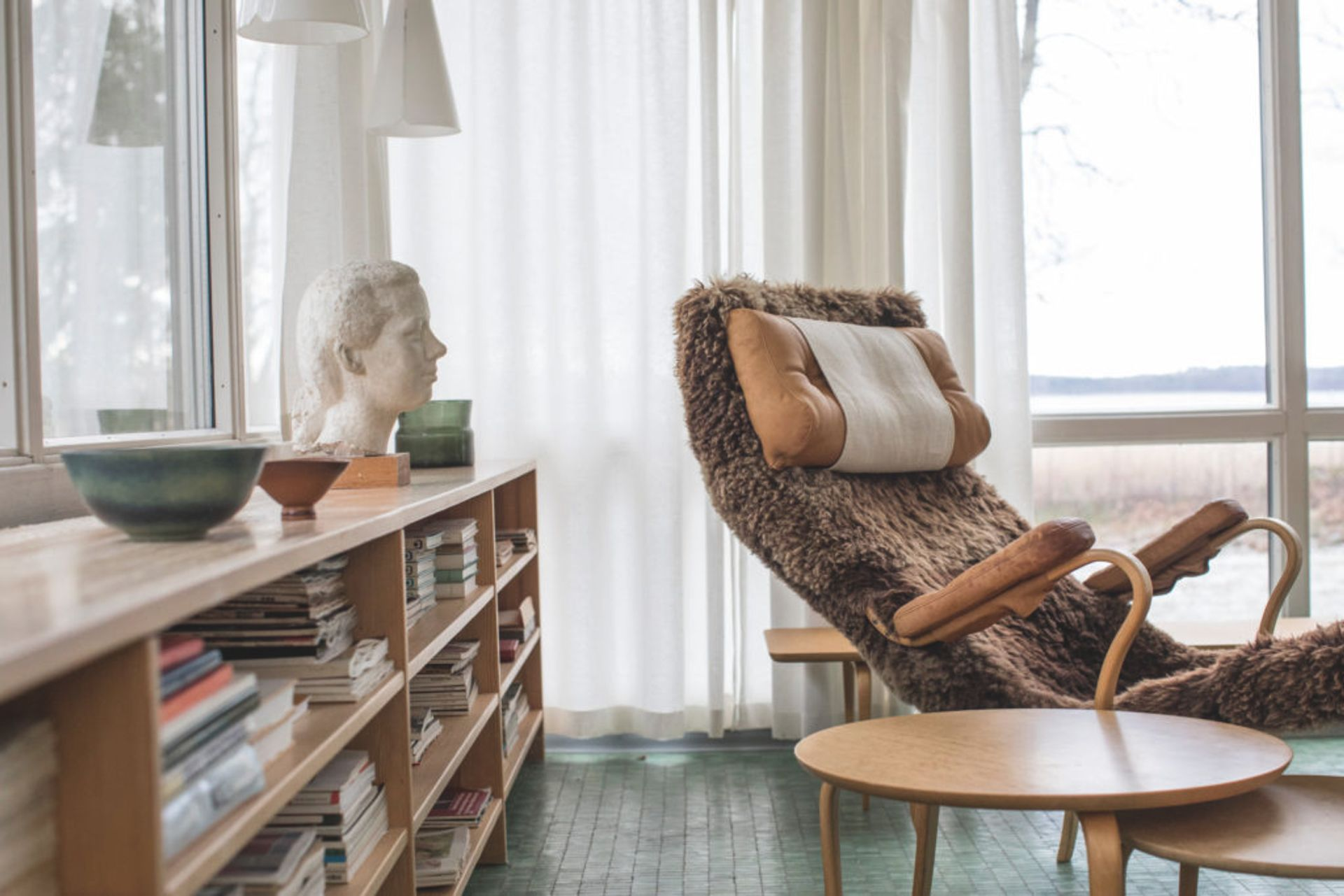 Reclining chair and bookcase.