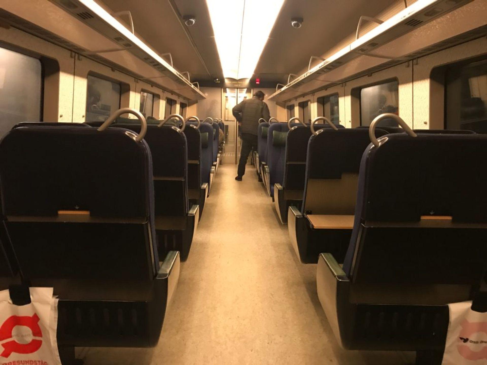 Empty seats on a train.
