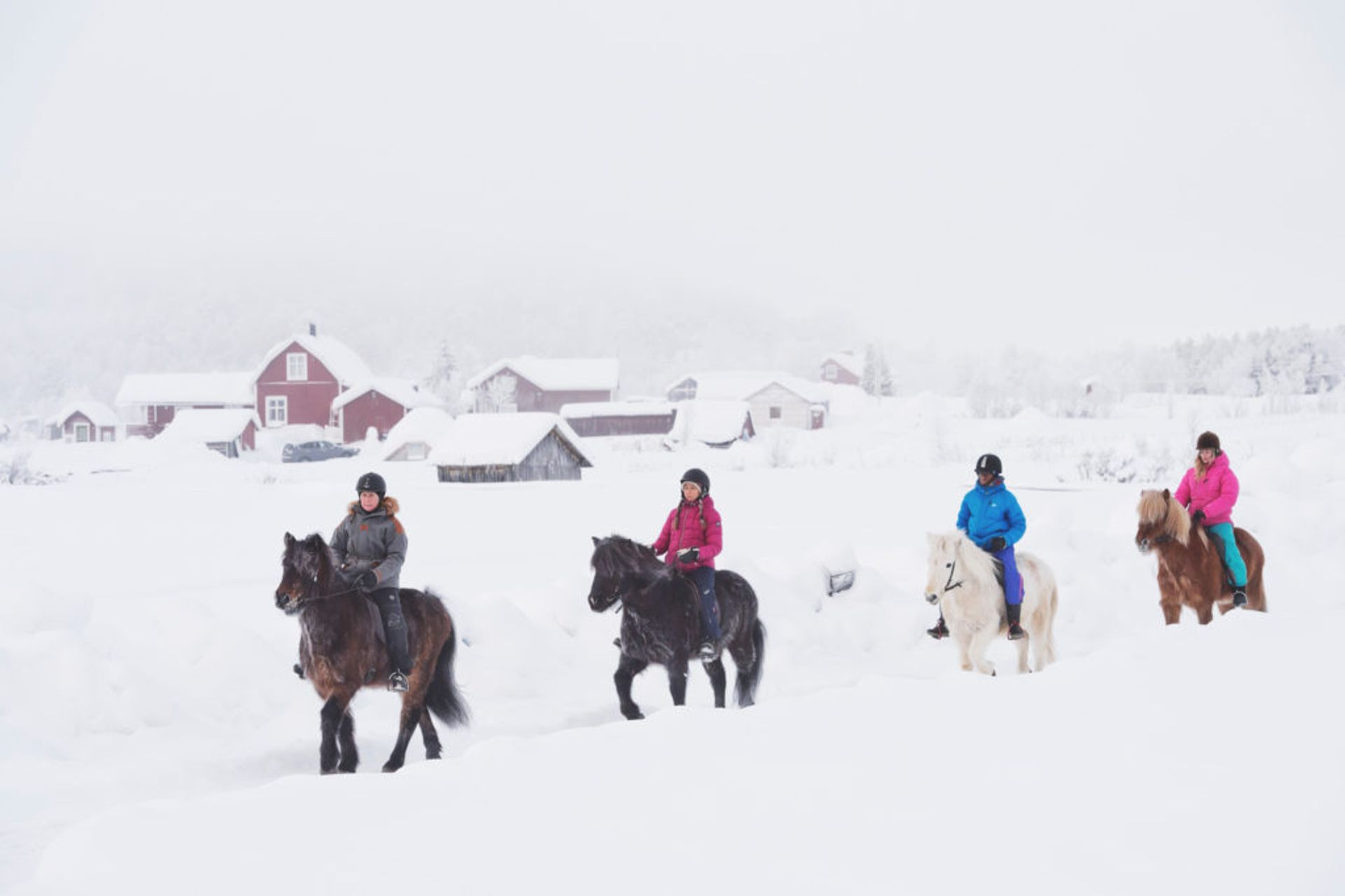 Horseback riding during winter.