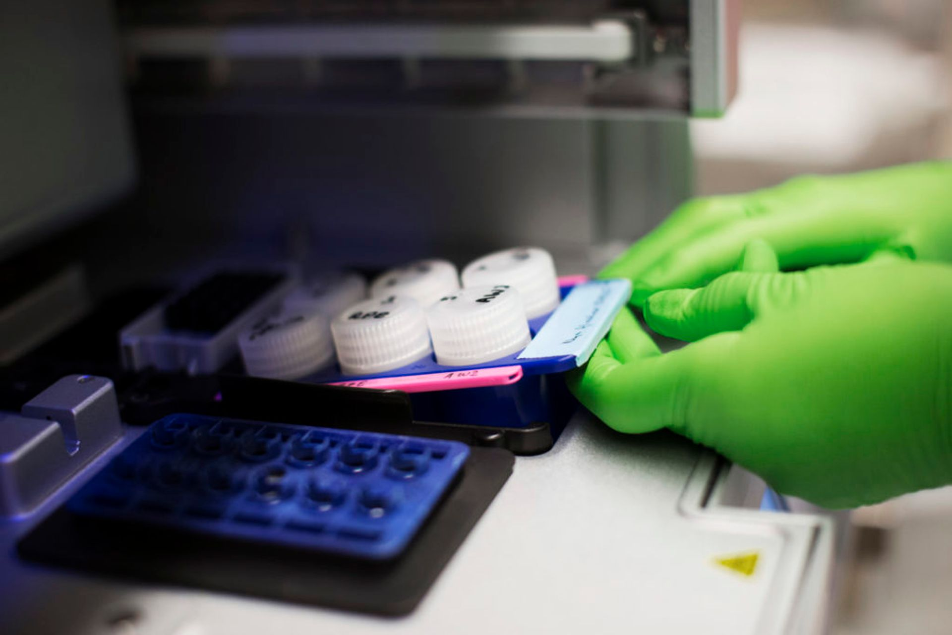 Close-up of testing samples in a lab.