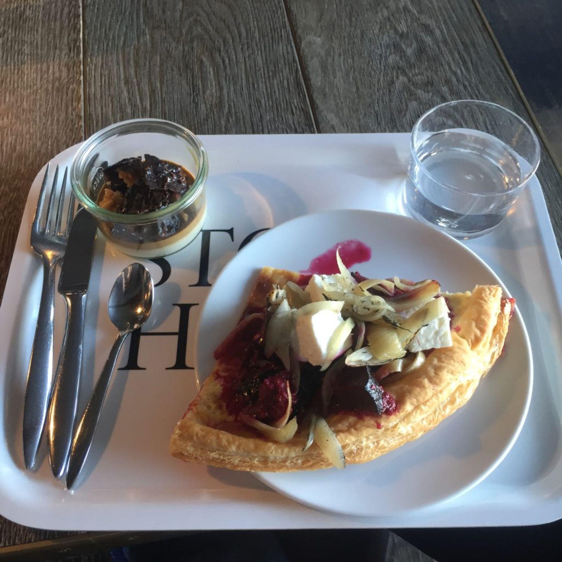Feta and beetroot tart and panacotta