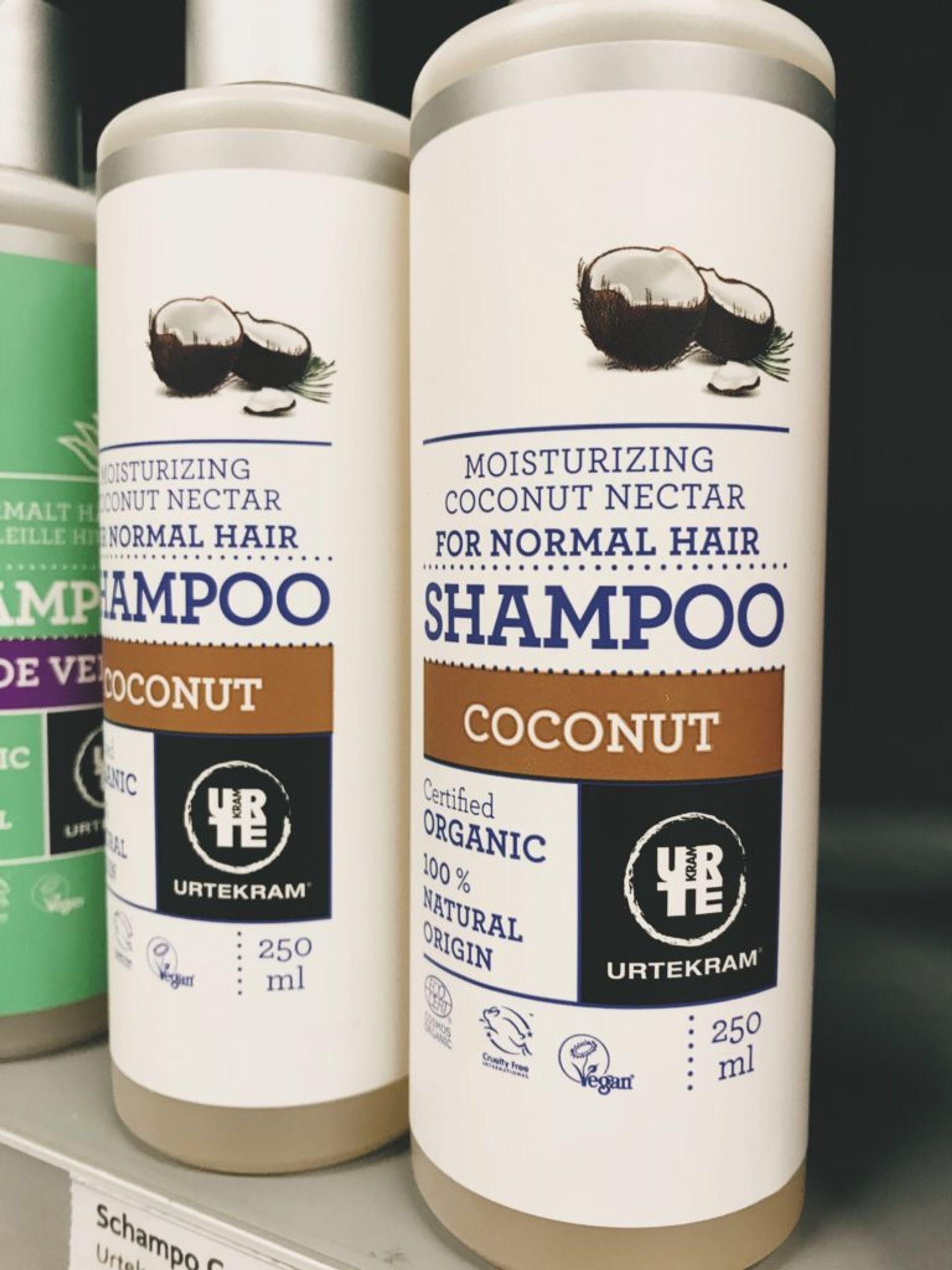 Close up of vegan shampoo bottles.