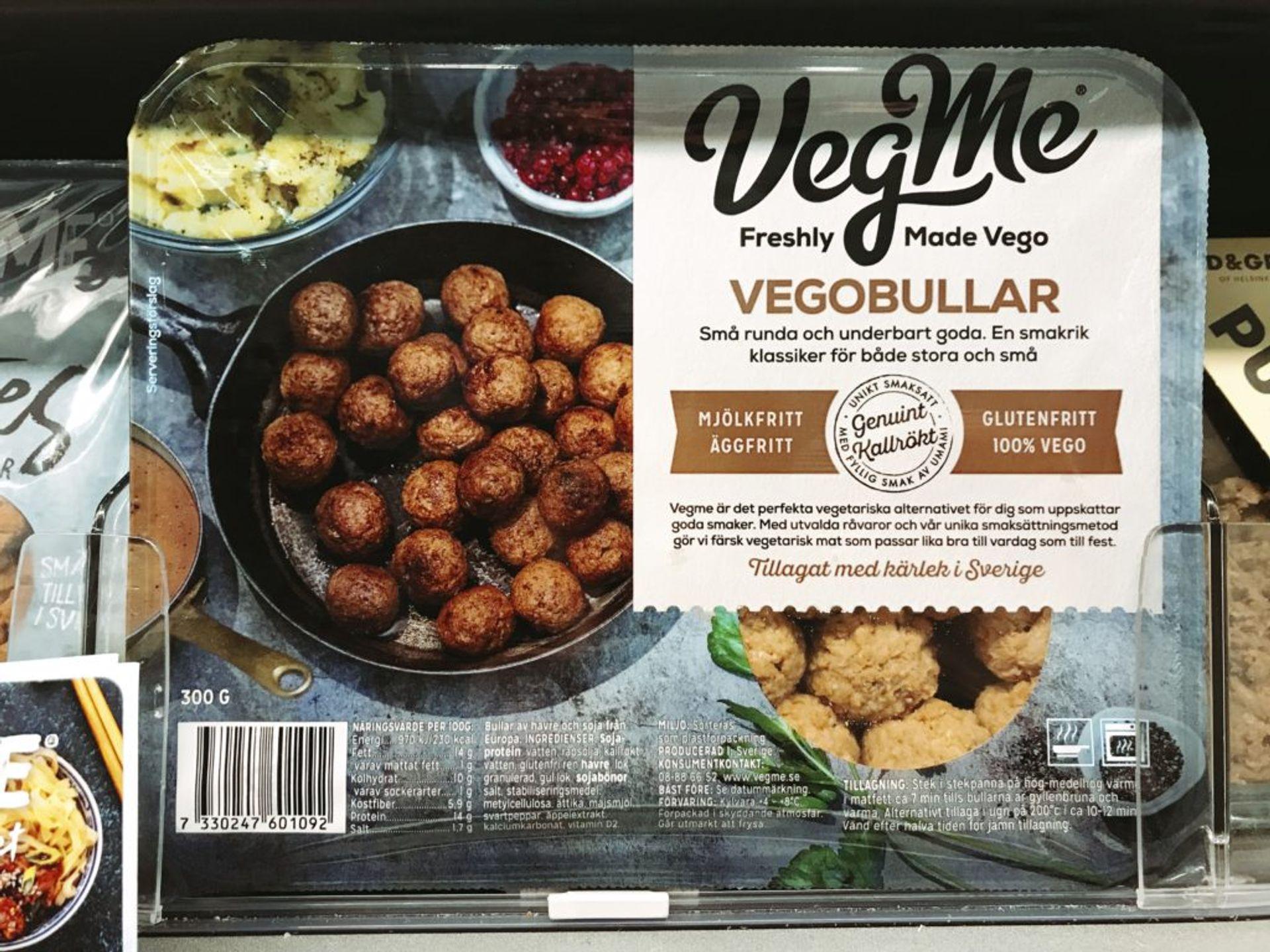 A packet of vegetarian meatballs.