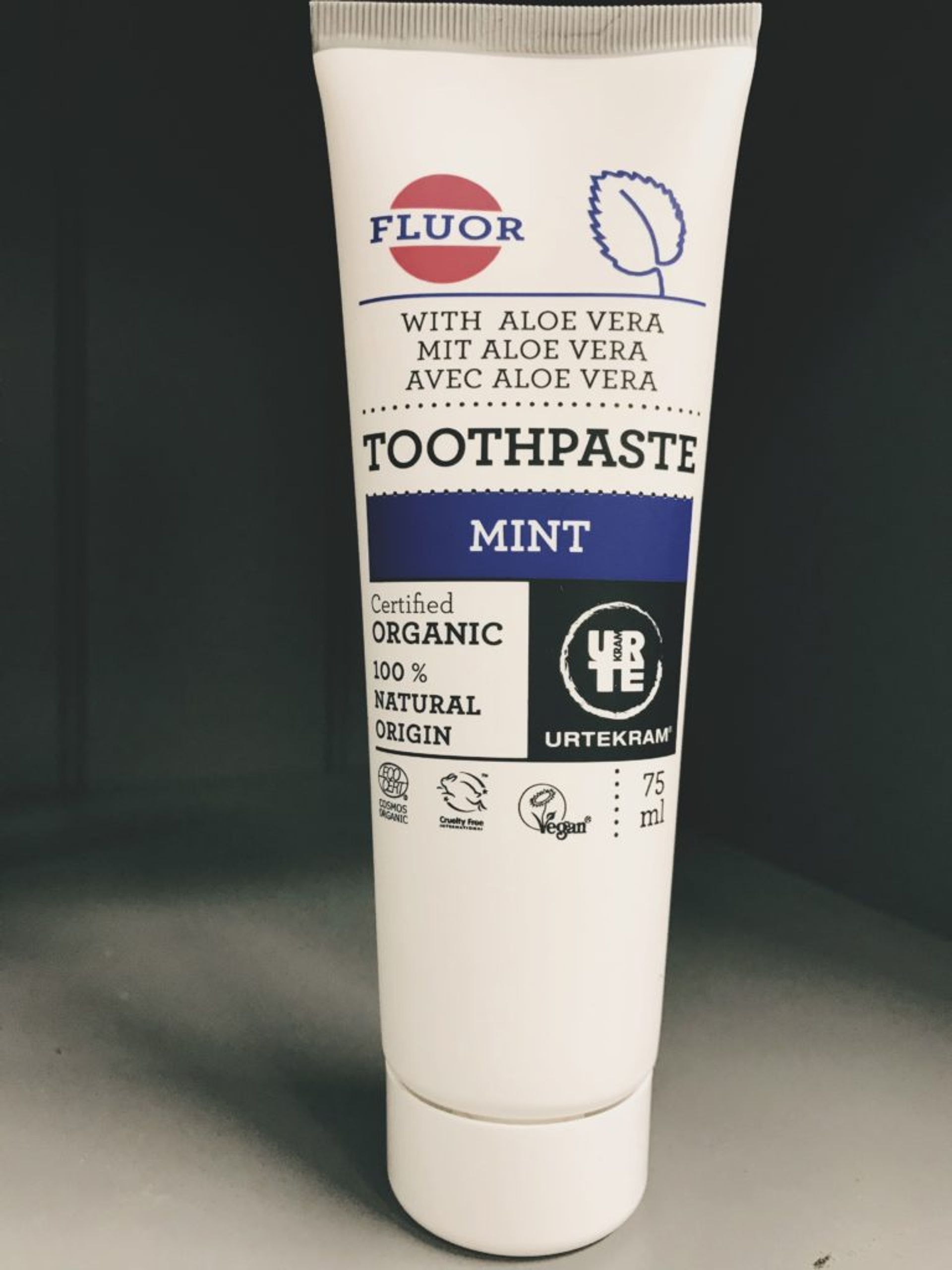 Close up of vegan toothpaste.
