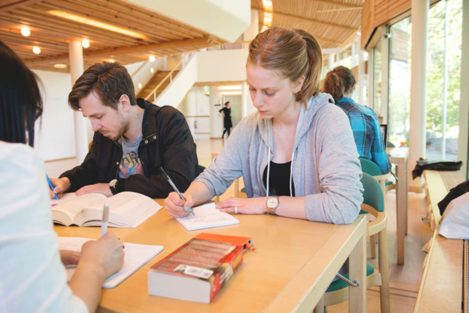 Students sitting at a desk studying.