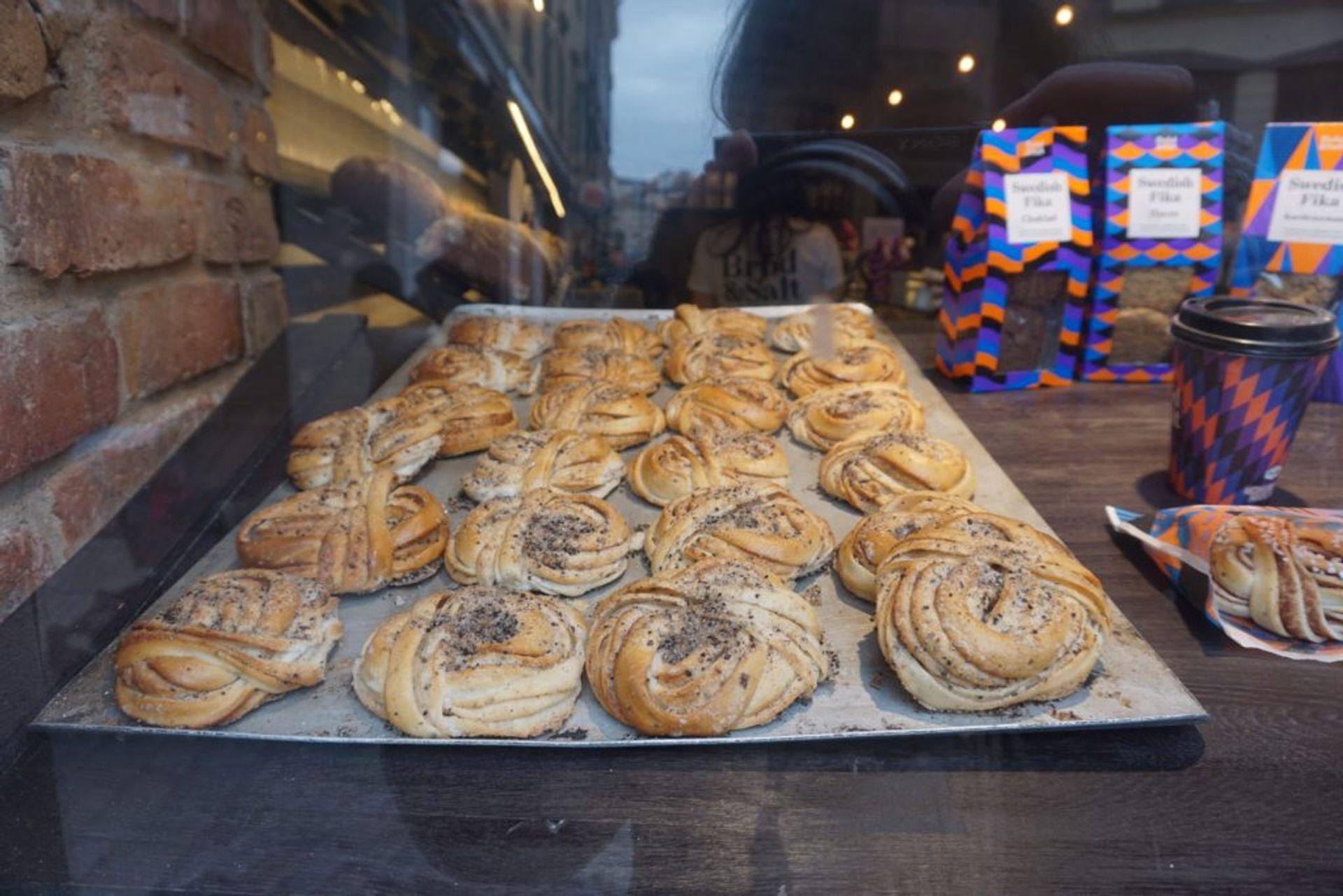 Close-up of a tray of cardamom buns.
