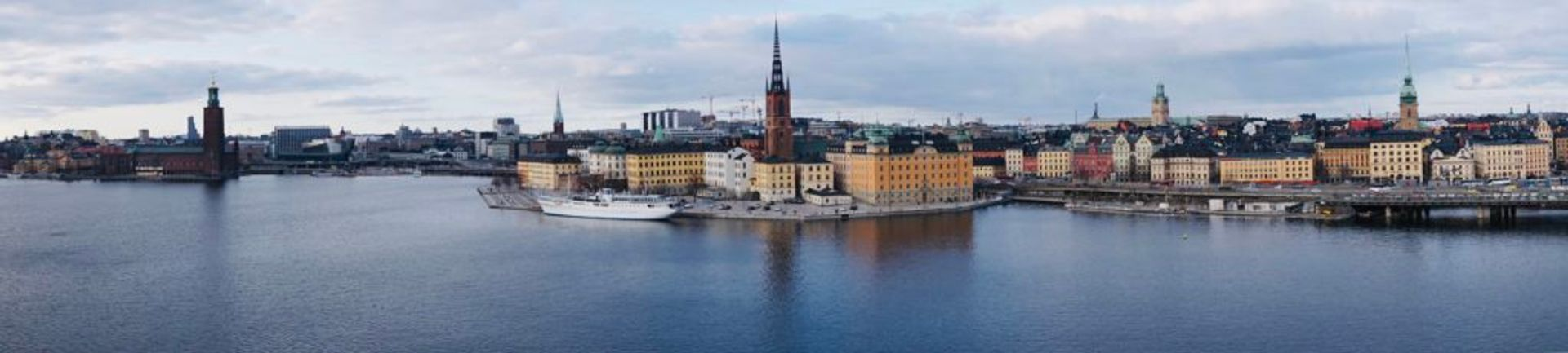 Wide shot of Stockholm's Old Town from a distance.