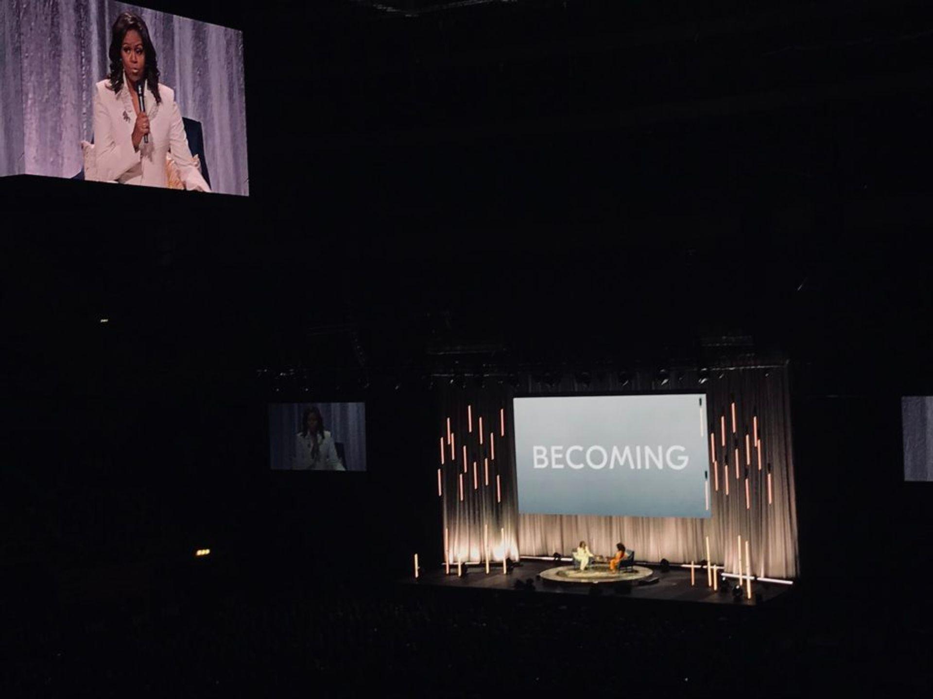 Michelle Obama on stage inside Globen.