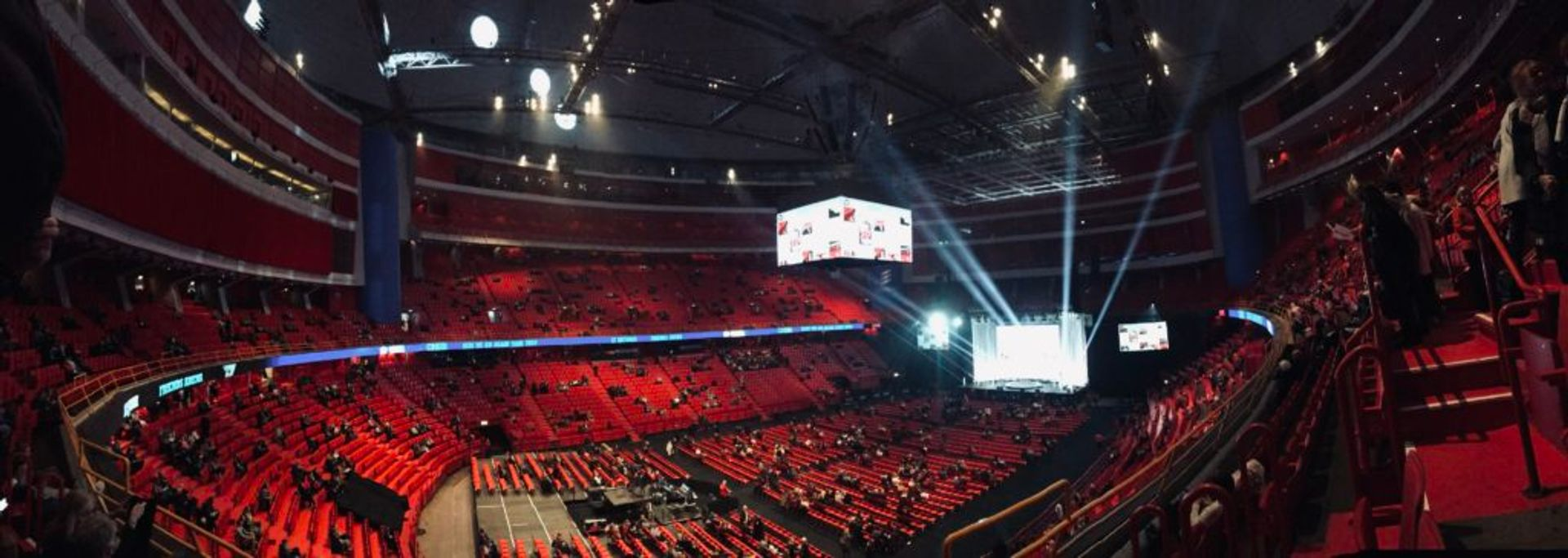 A wide shot view of the inside of Globen.
