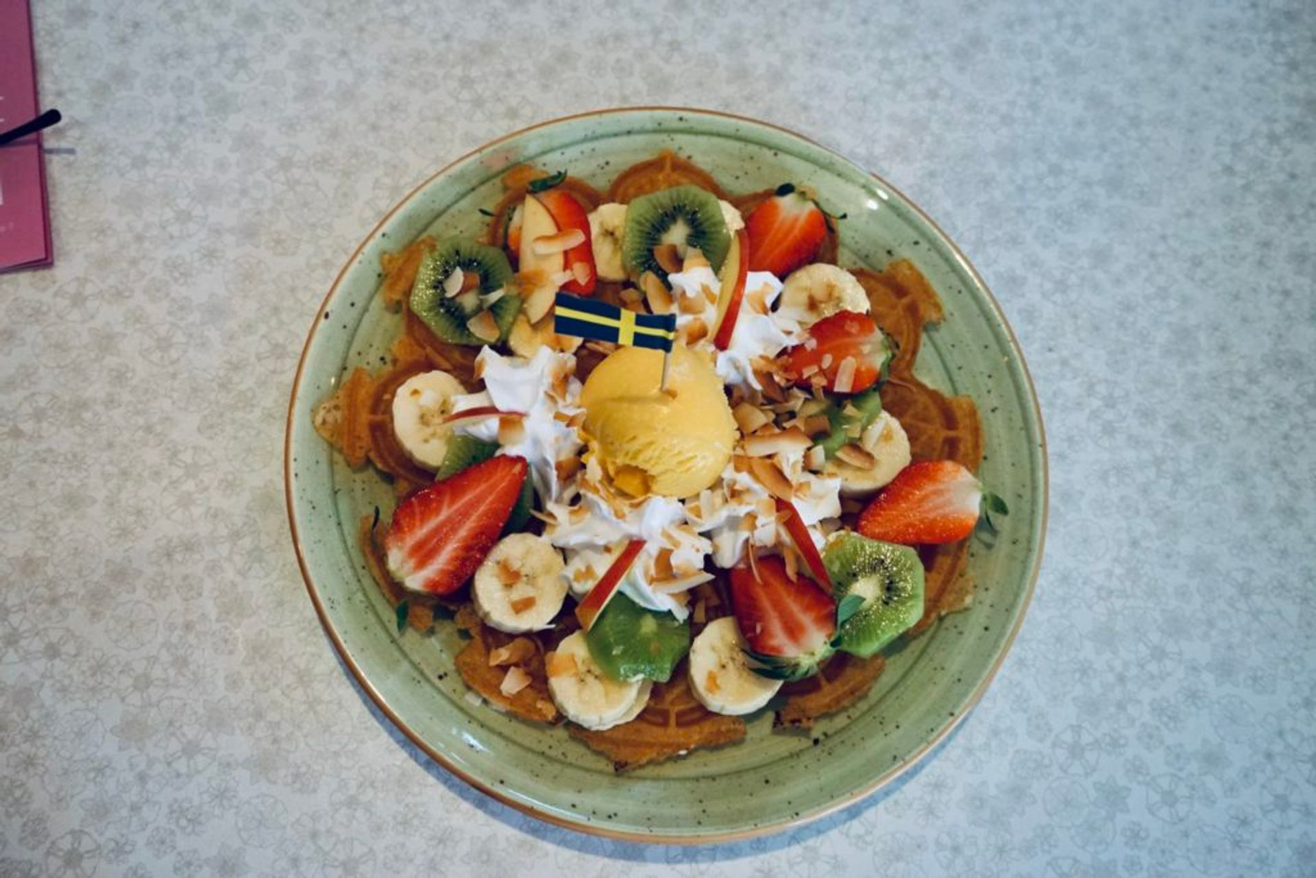 Close-up of a plate of vegan waffles.