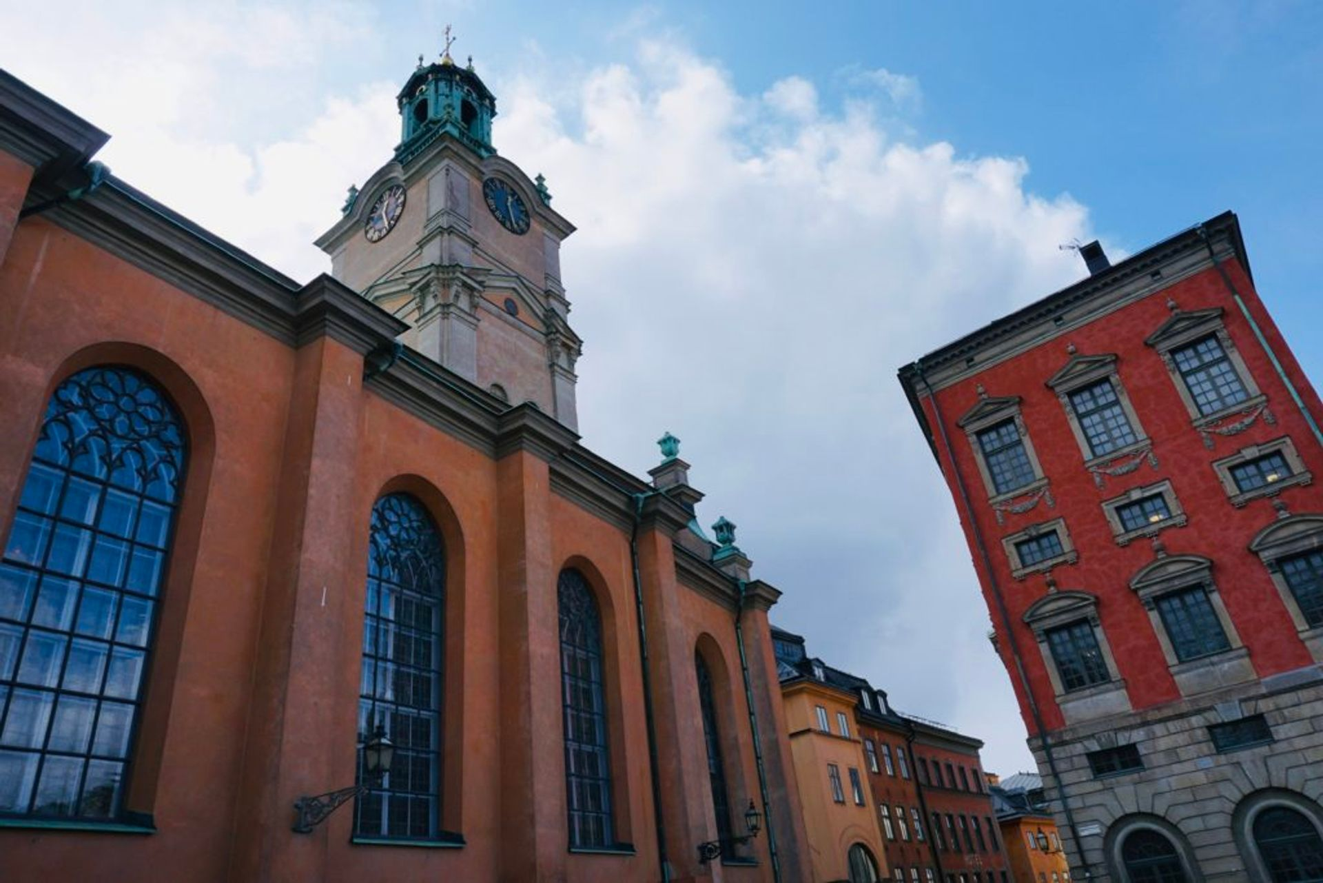 A large, colourful church in Stockholm's Old Town.
