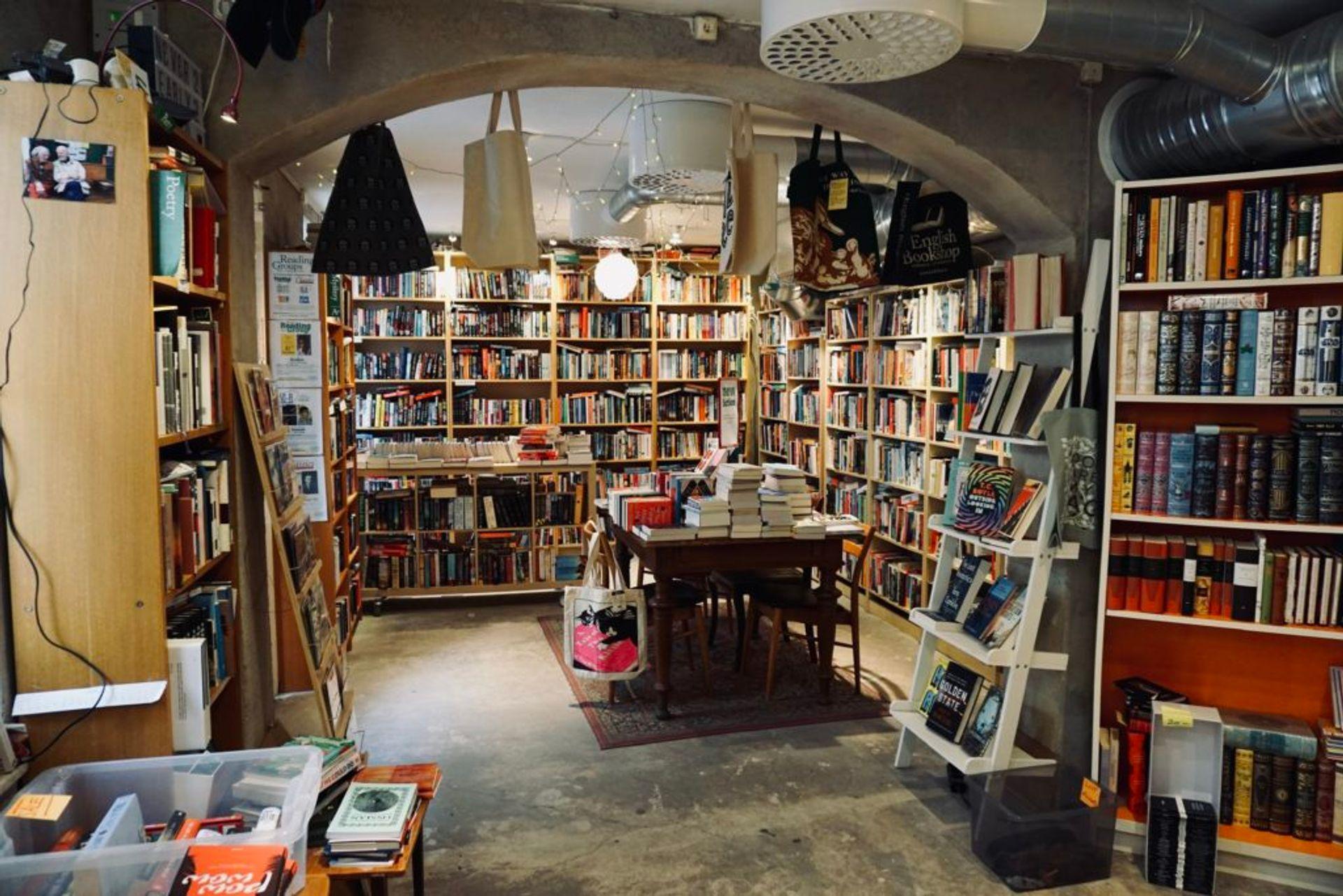 Inside a small bookshop.