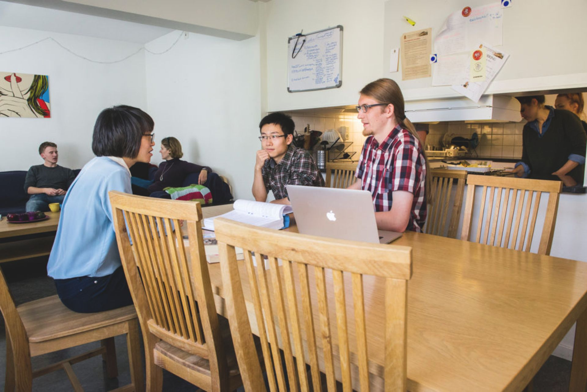 Group of students sitting in a shared kitchen studying.