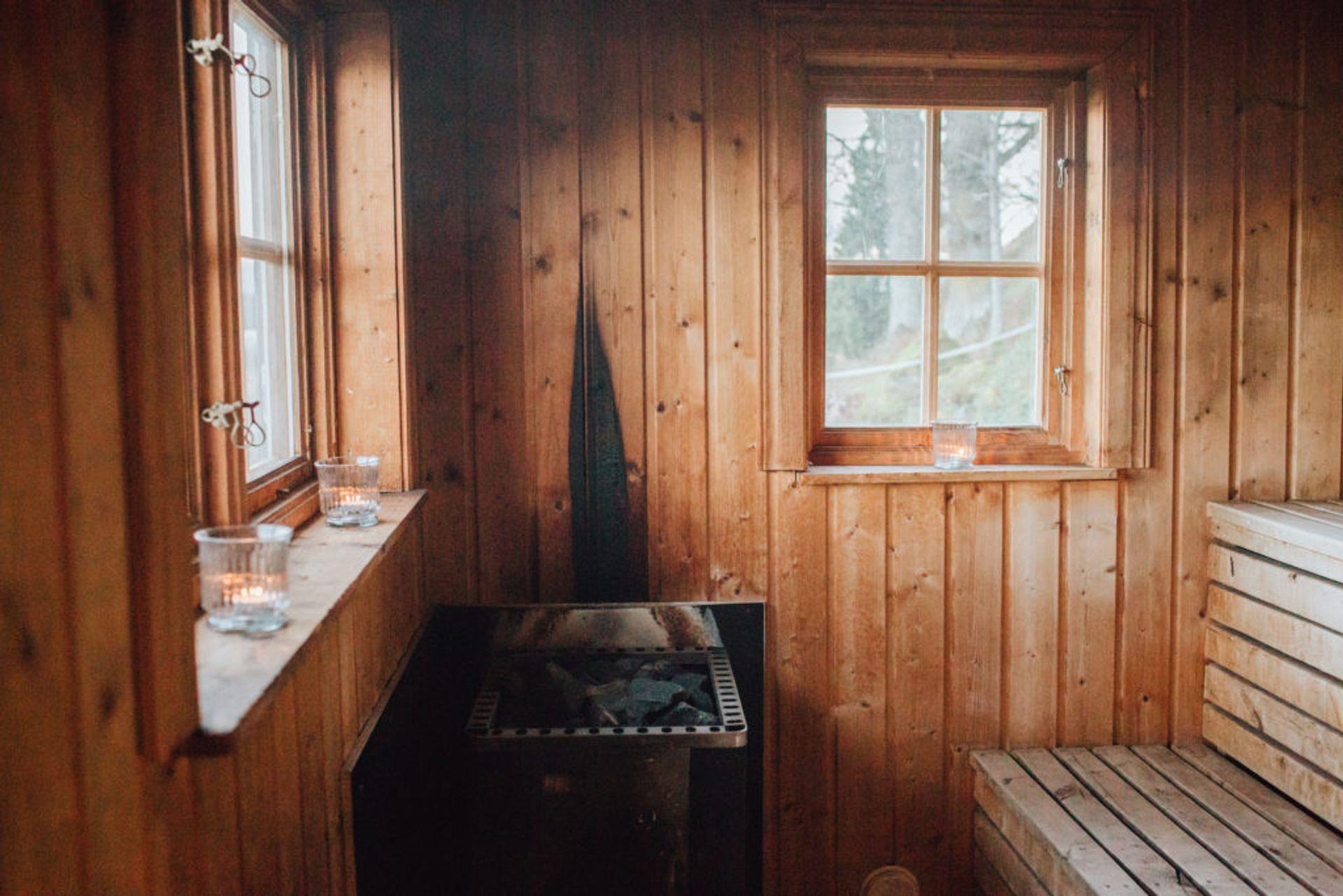 Inside a sauna.