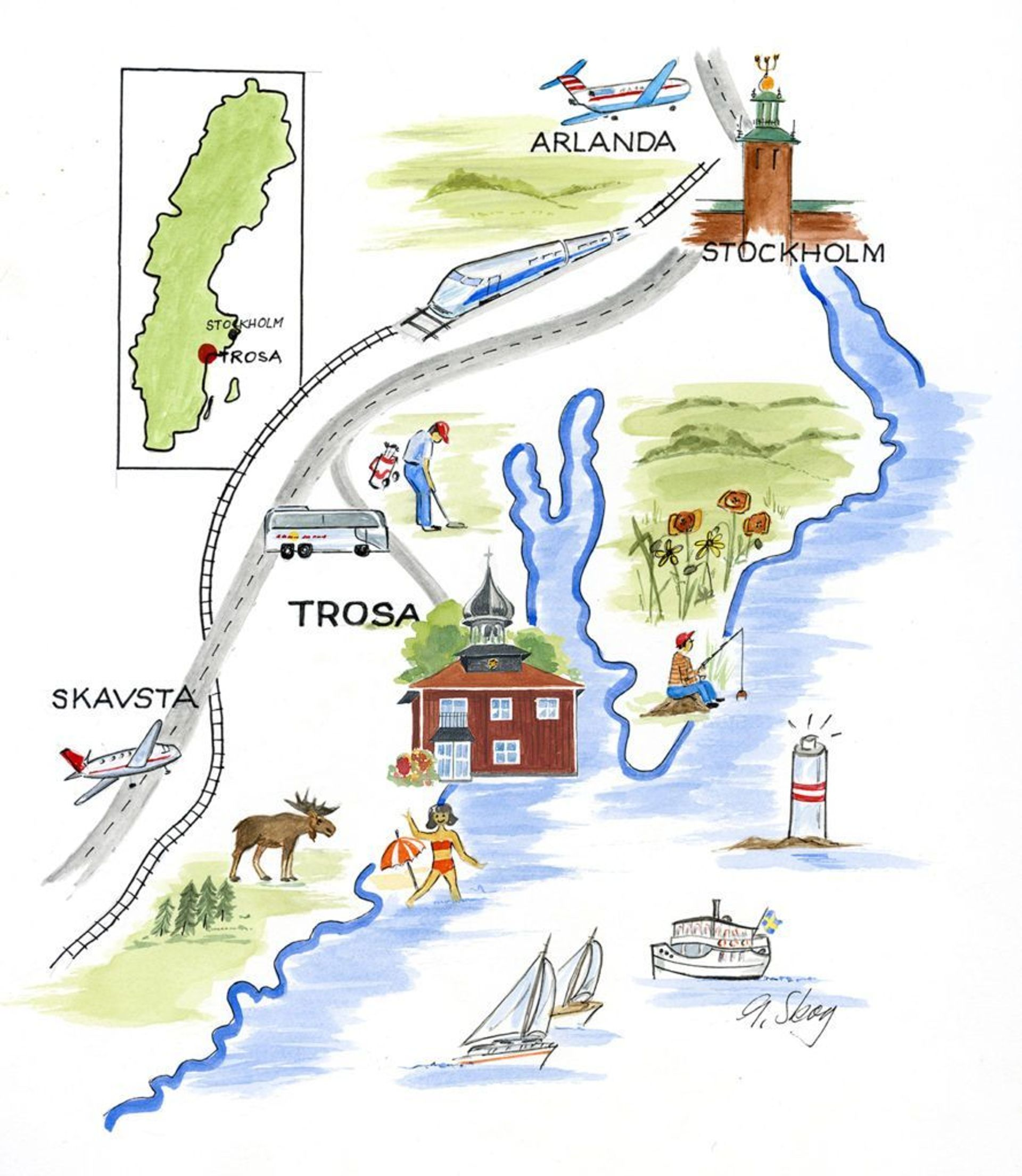 Illustrated map of Trosa.