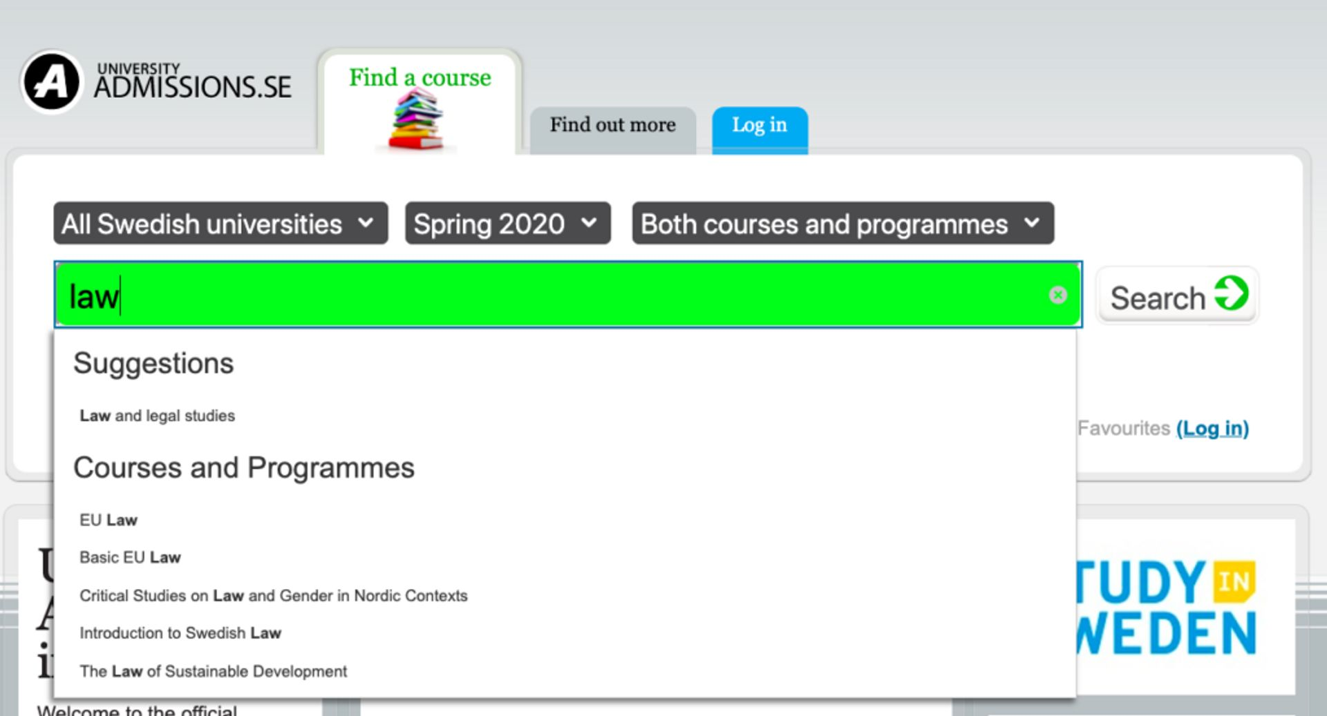 Screenshot of University Admissions frontpage.
