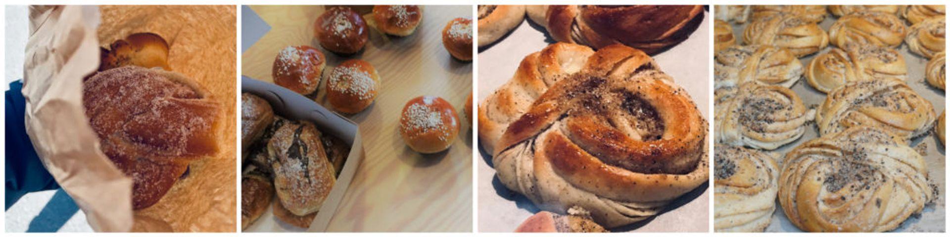 Collage of photos of vanilla buns.