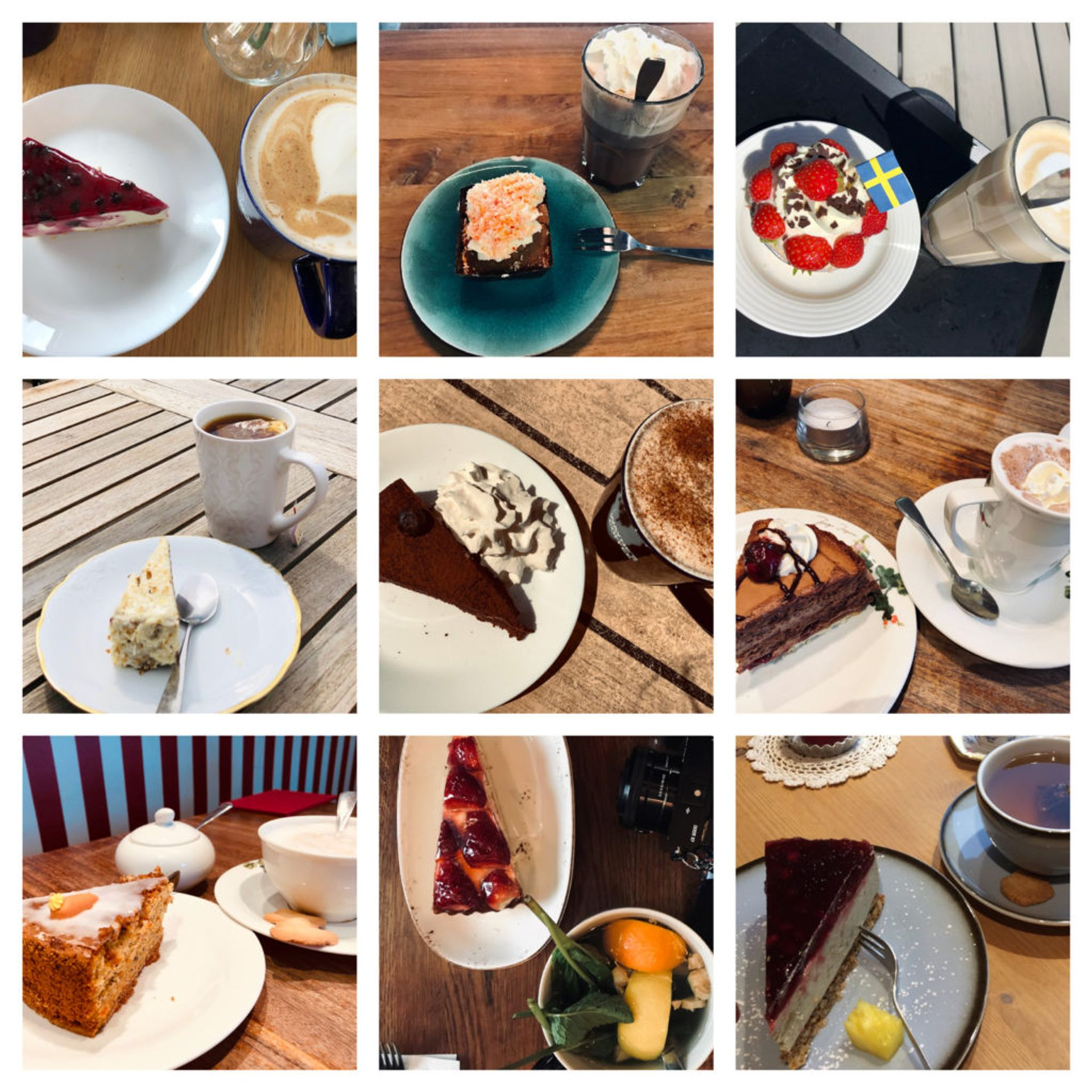 Collage of photos of cakes.
