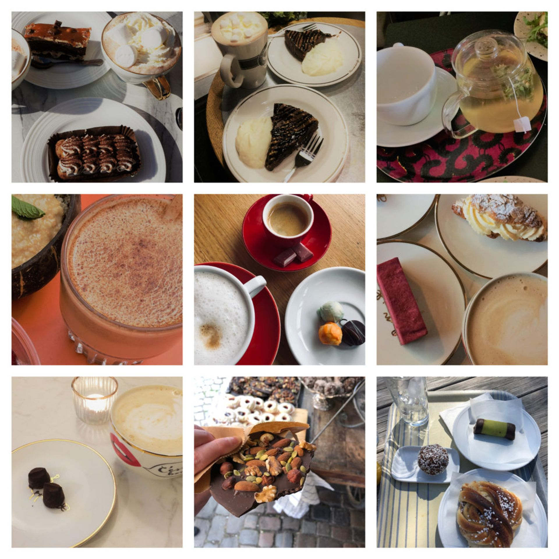 Collage of photos featuring cups of coffee and cake.