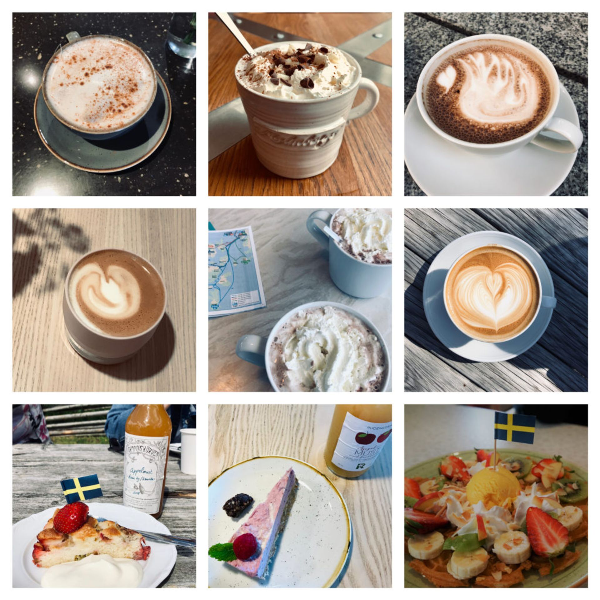 Collage of photos of different hot drinks.