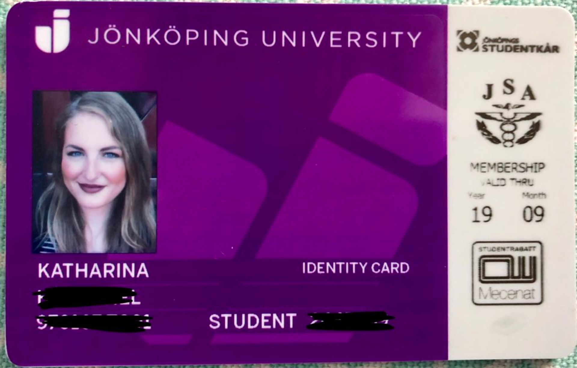 Close-up of a student ID card.