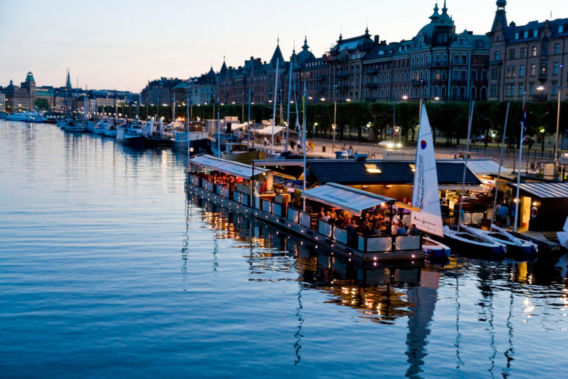 A floating restaurant in Stockholm.