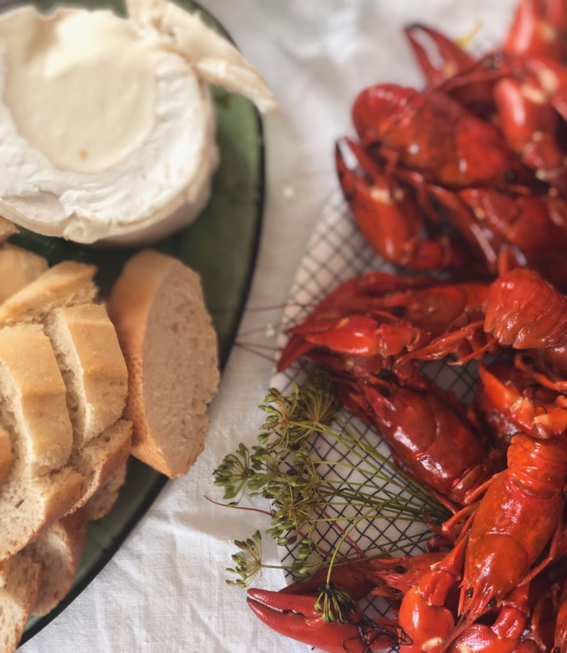Crayfish, bread and cheese.
