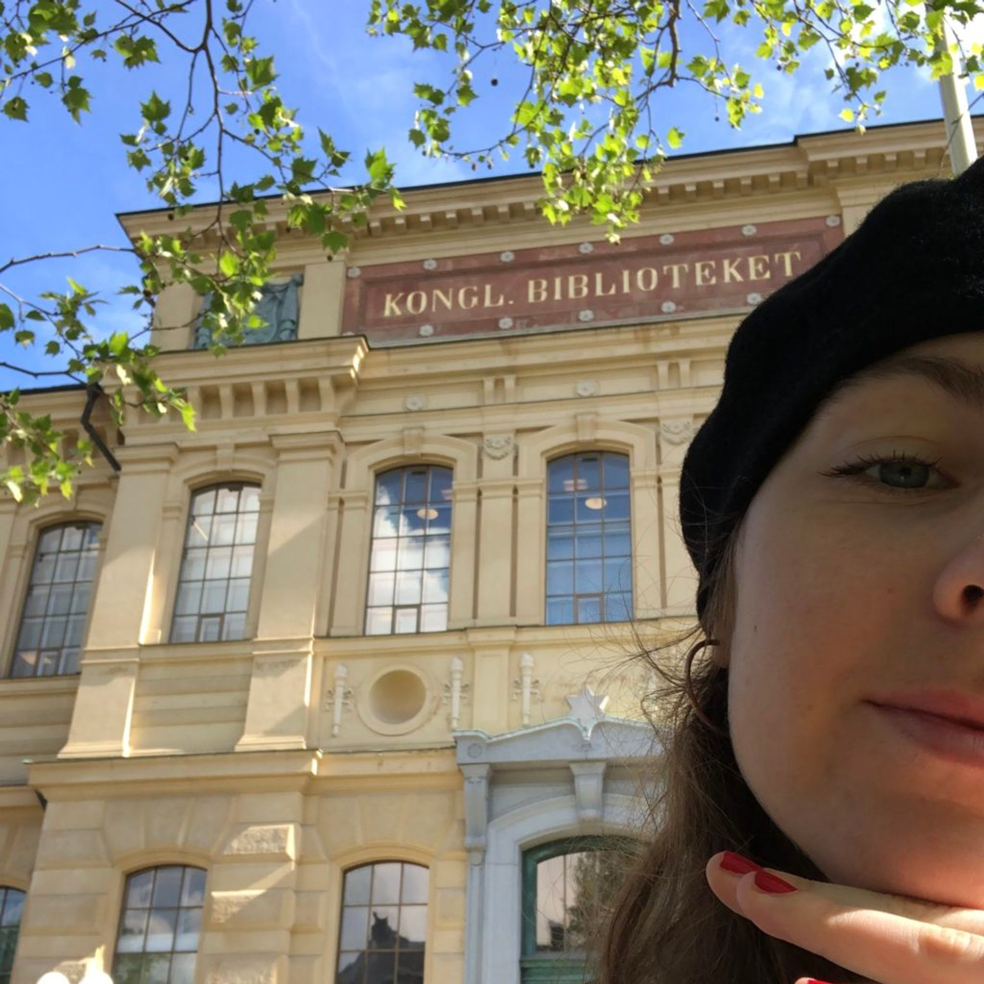 Author's face and the National Library of Sweden in the sunshine