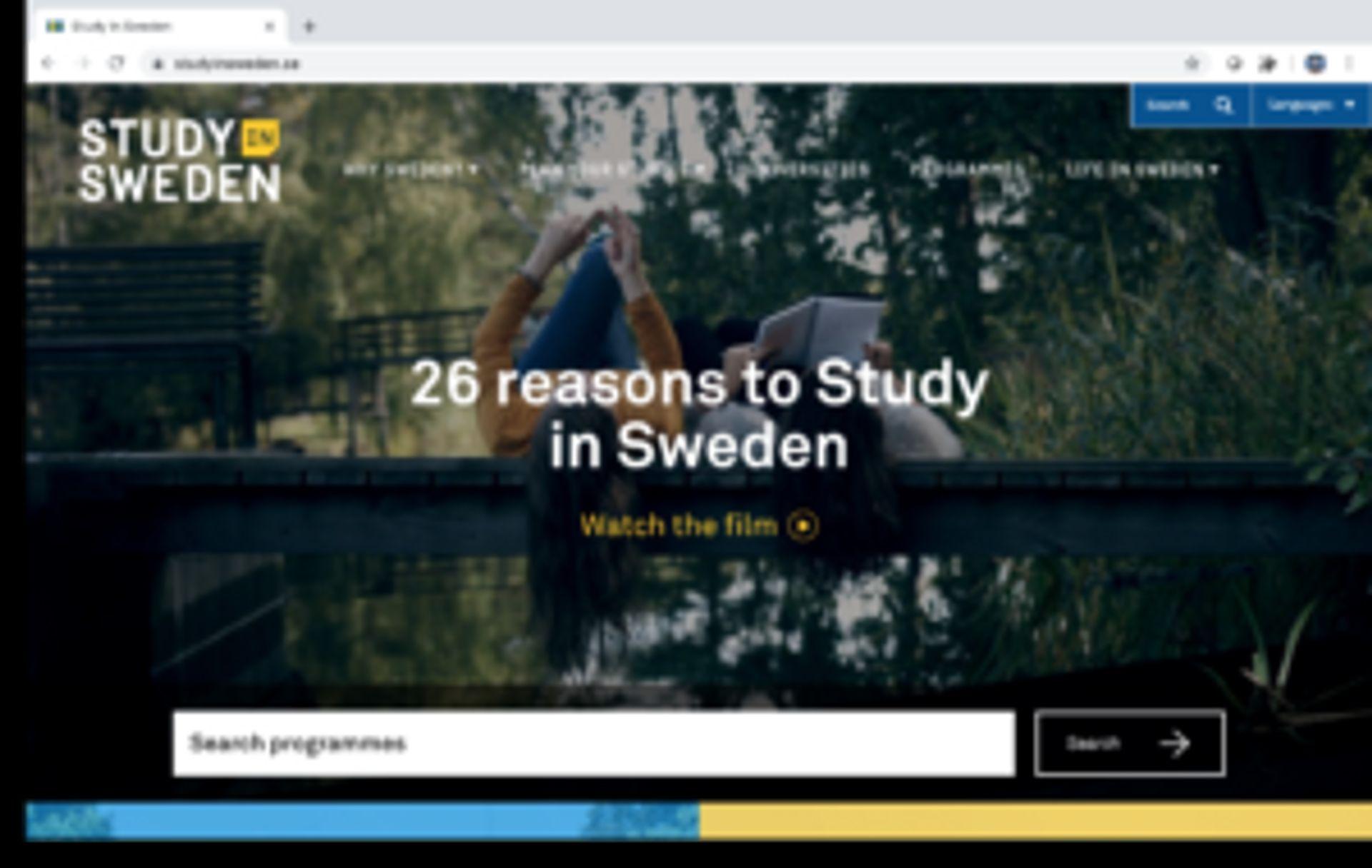 Screenshot of the Study in Sweden website.