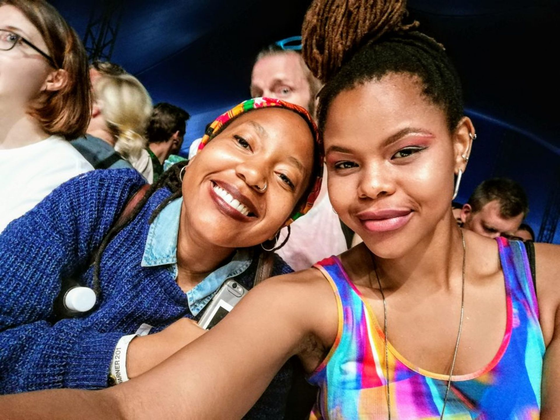 Me (right) and my friend Nthupula (left) from South Africa, before watching Khruangbin at WOW