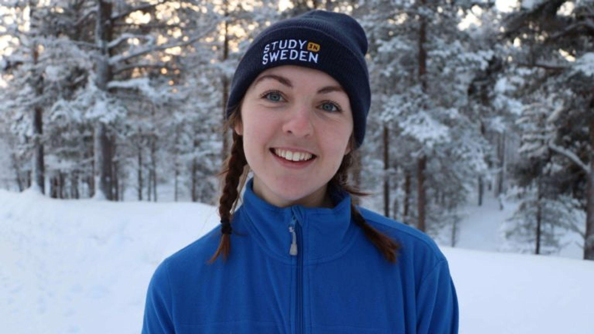 Emma enjoys her first winter in Sweden while in Kiruna.