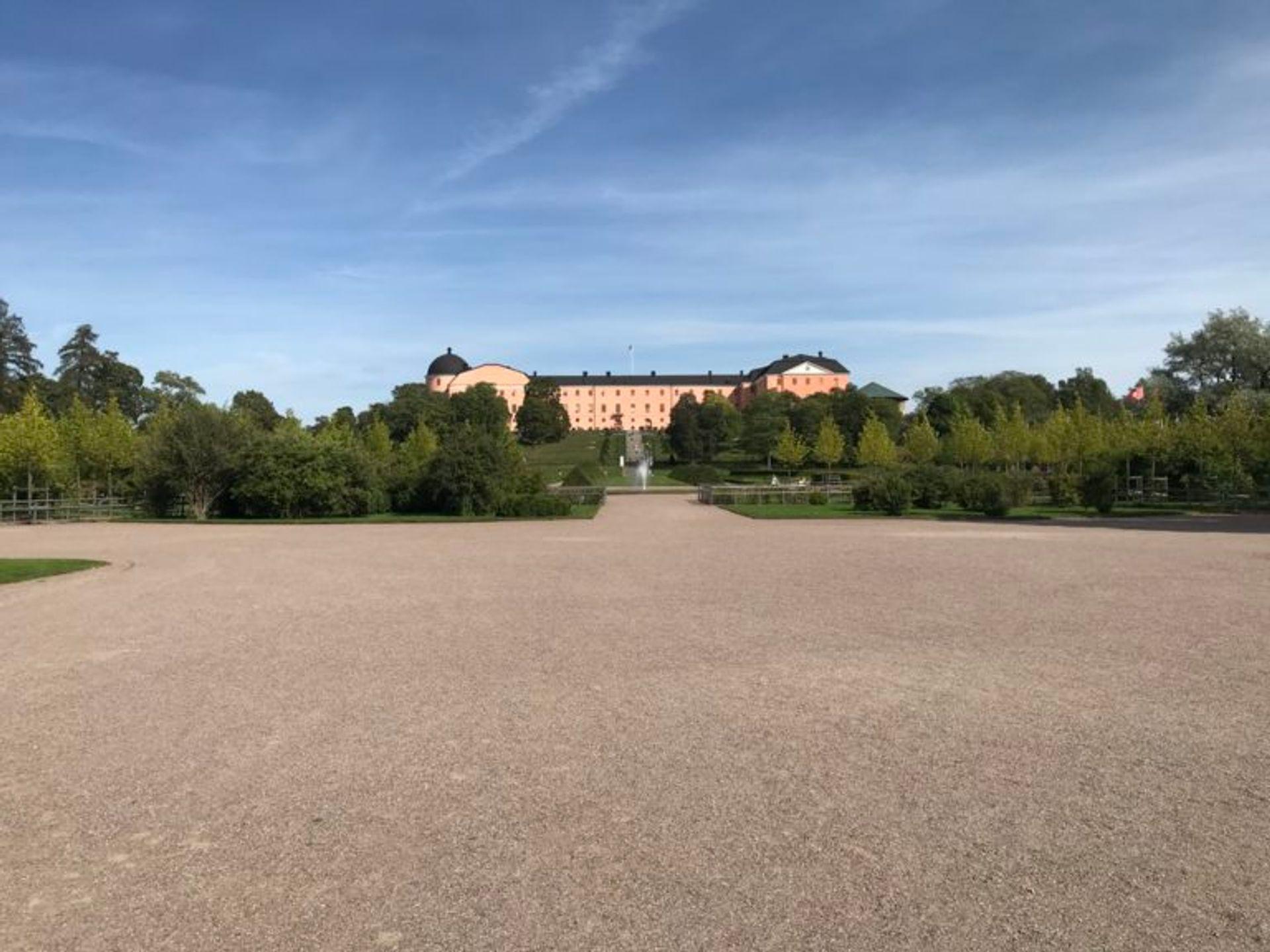 Botantical gardens in front of a large, pink castle.