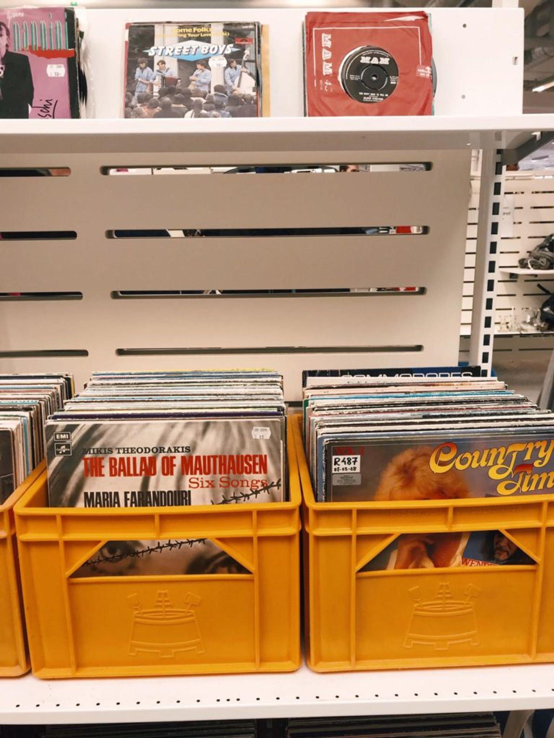 Racks of vinyl records.
