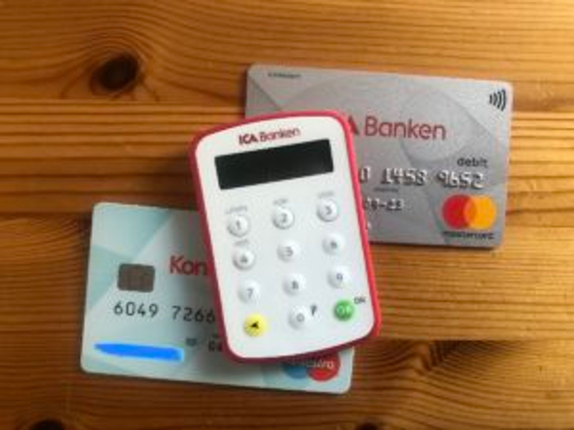 Bank cards.