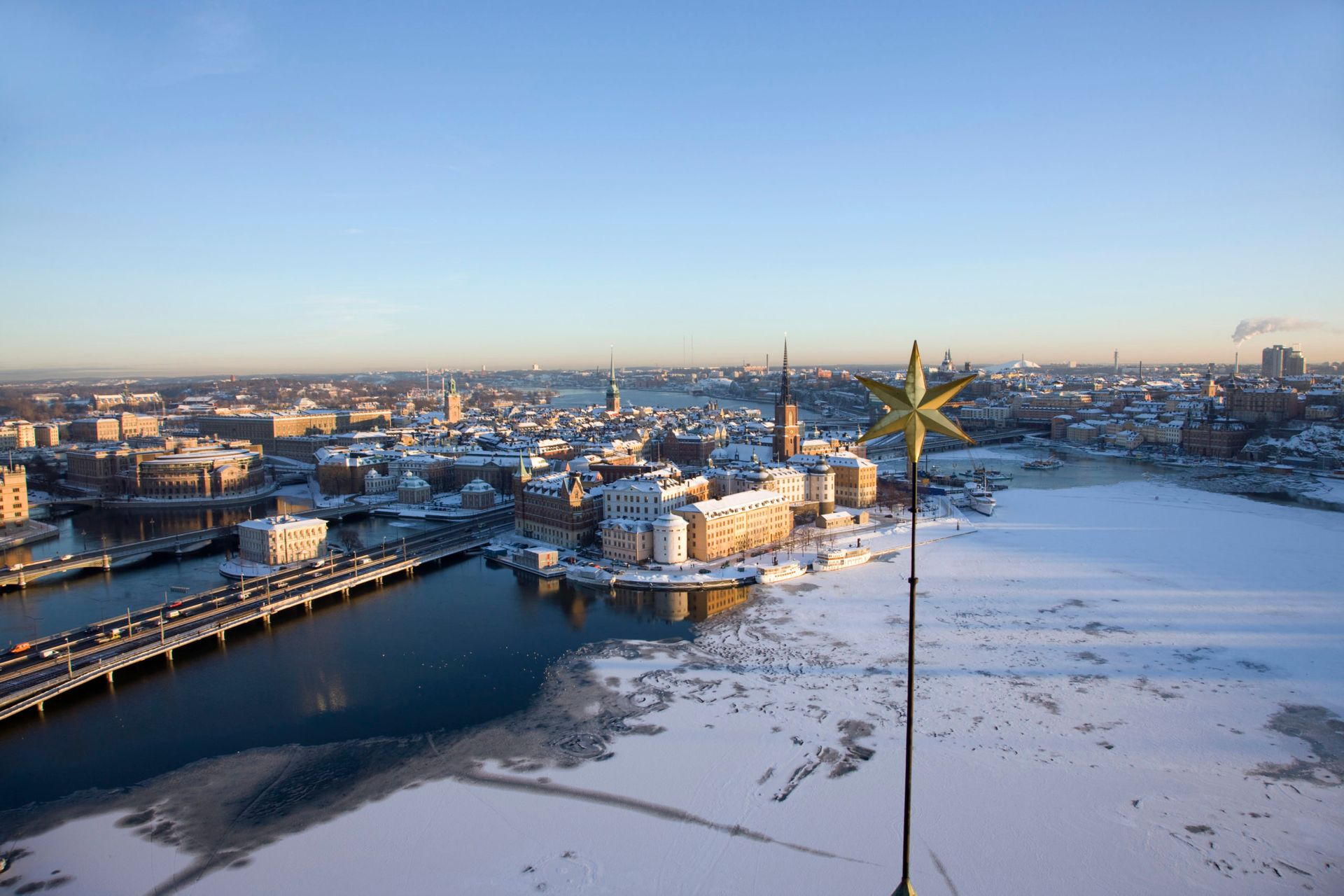 Wide shot of a snowy Stockholm.