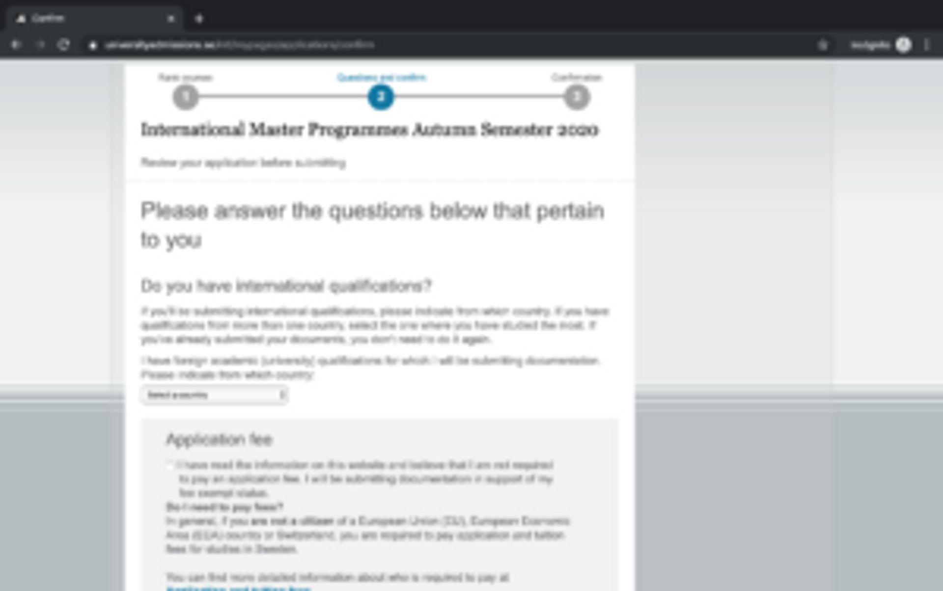 Screenshot of application instructions.