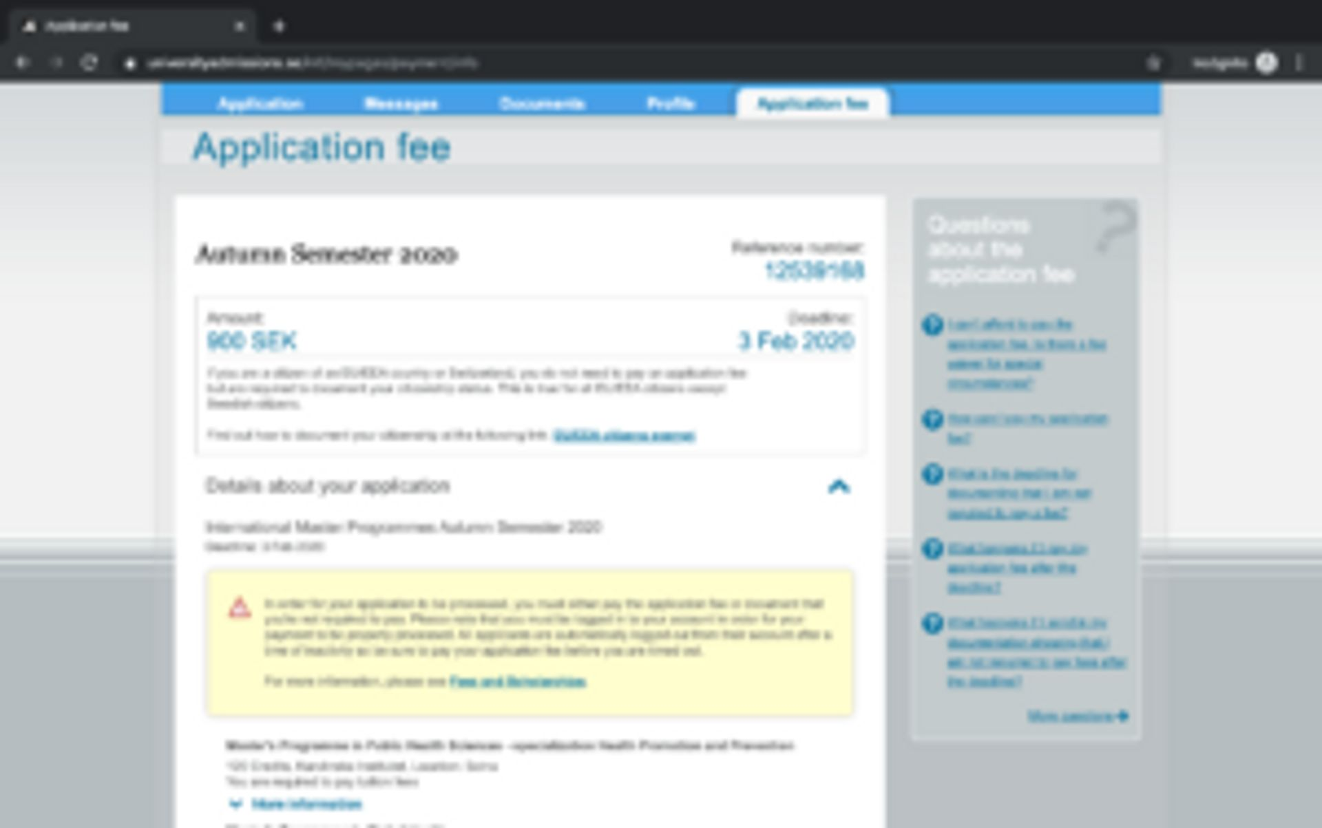Screenshot of webpage with application fee information.