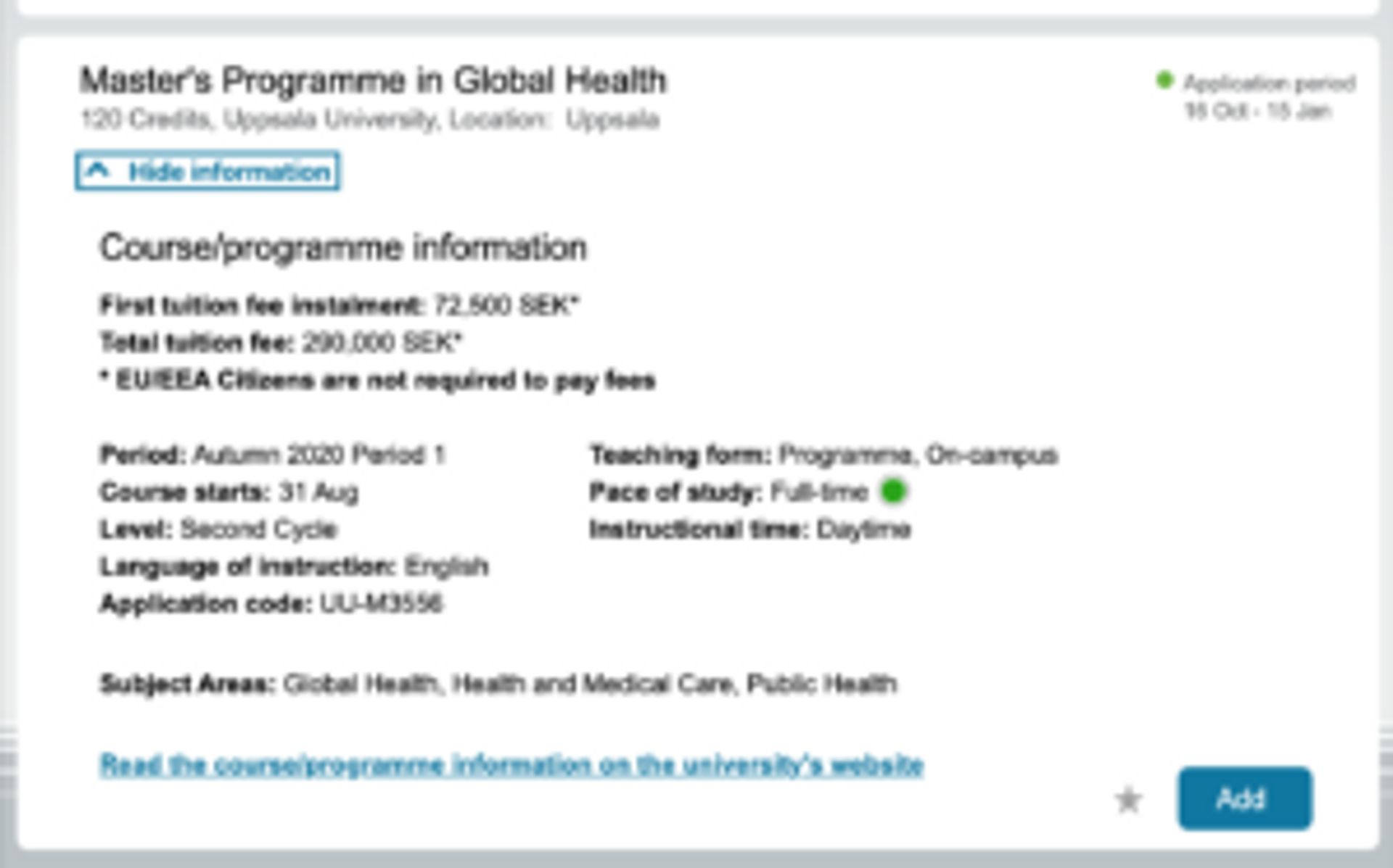 Screenshot showing information about the Master Programme in Global Health at Uppsala University.